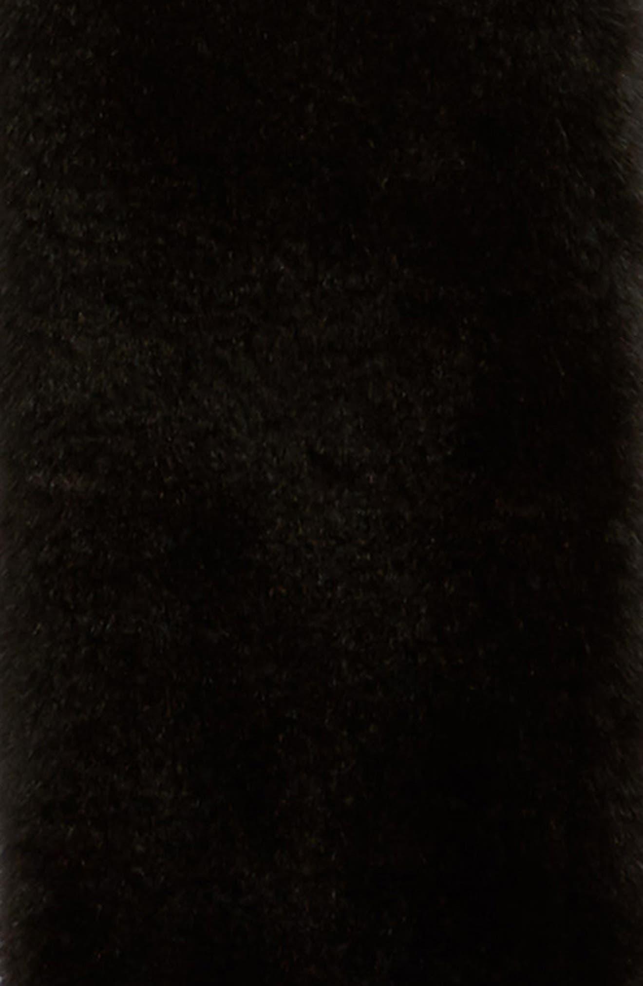 LOVE TOKEN, Faux Fur Colorblock Scarf, Alternate thumbnail 4, color, 001