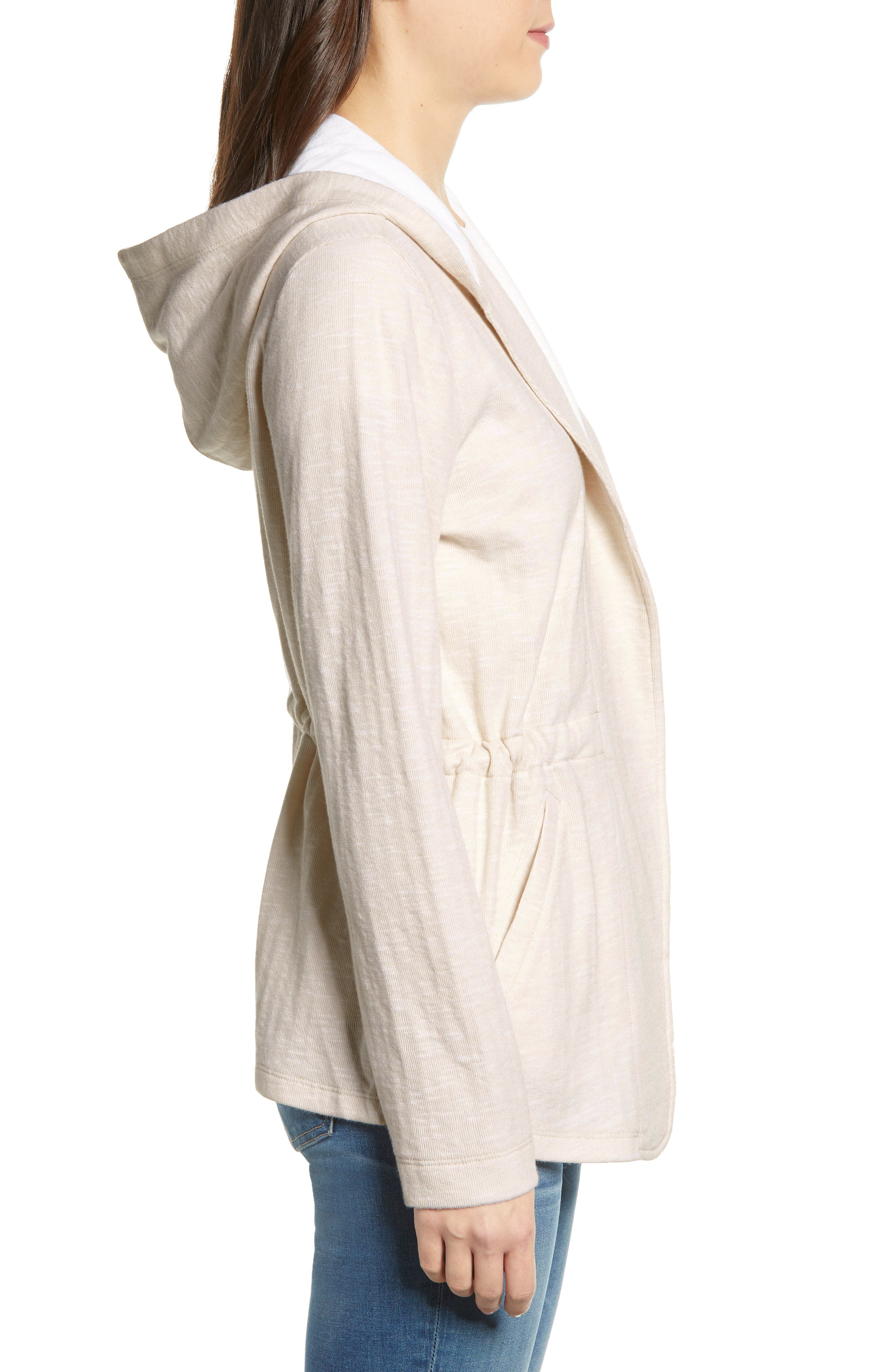 CASLON<SUP>®</SUP>, Open Front Hooded Cardigan, Alternate thumbnail 4, color, BEIGE- WHITE SPACEDYE
