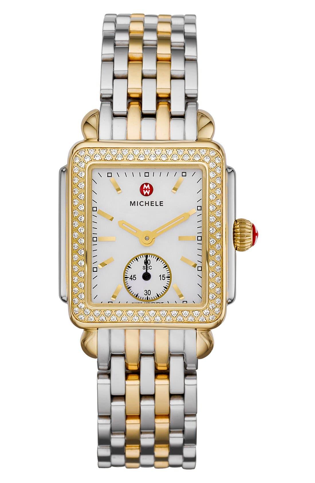 MICHELE, Deco 16 16mm Two-Tone Bracelet Watchband, Alternate thumbnail 4, color, SILVER/ GOLD