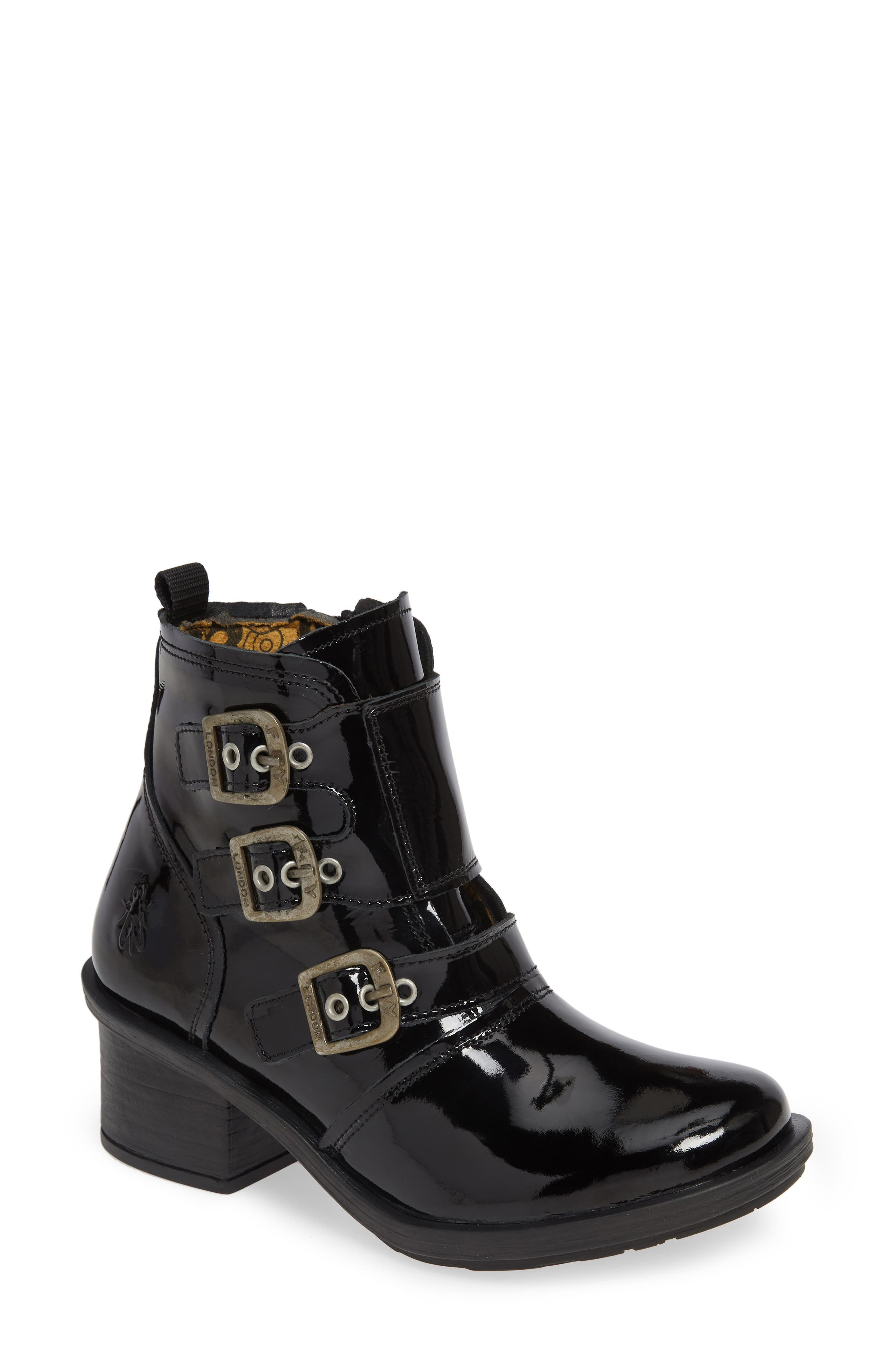 FLY LONDON, Crip Buckle Boot, Main thumbnail 1, color, BLACK PATENT LEATHER