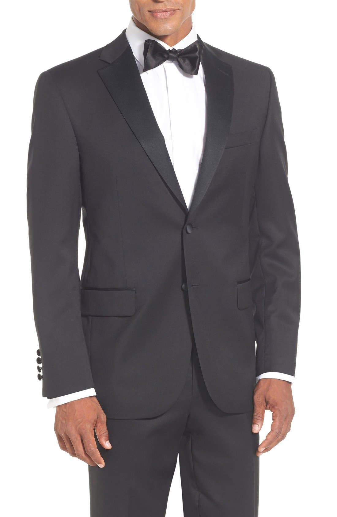 DAVID DONAHUE, Classic Fit Loro Piana Wool Notch Lapel Tuxedo, Alternate thumbnail 5, color, BLACK
