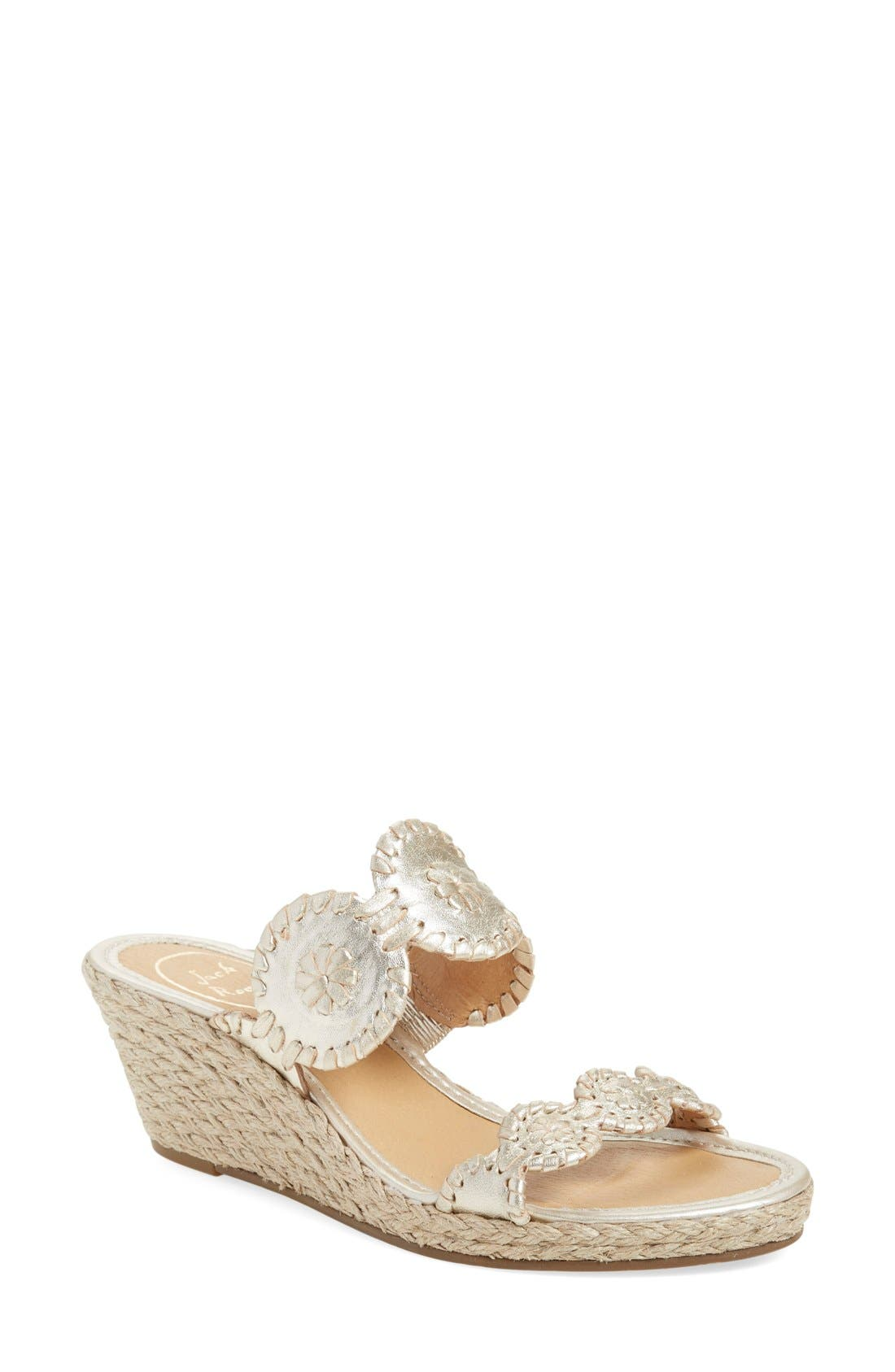 JACK ROGERS 'Shelby' Whipstitched Wedge Sandal, Main, color, PLATINUM