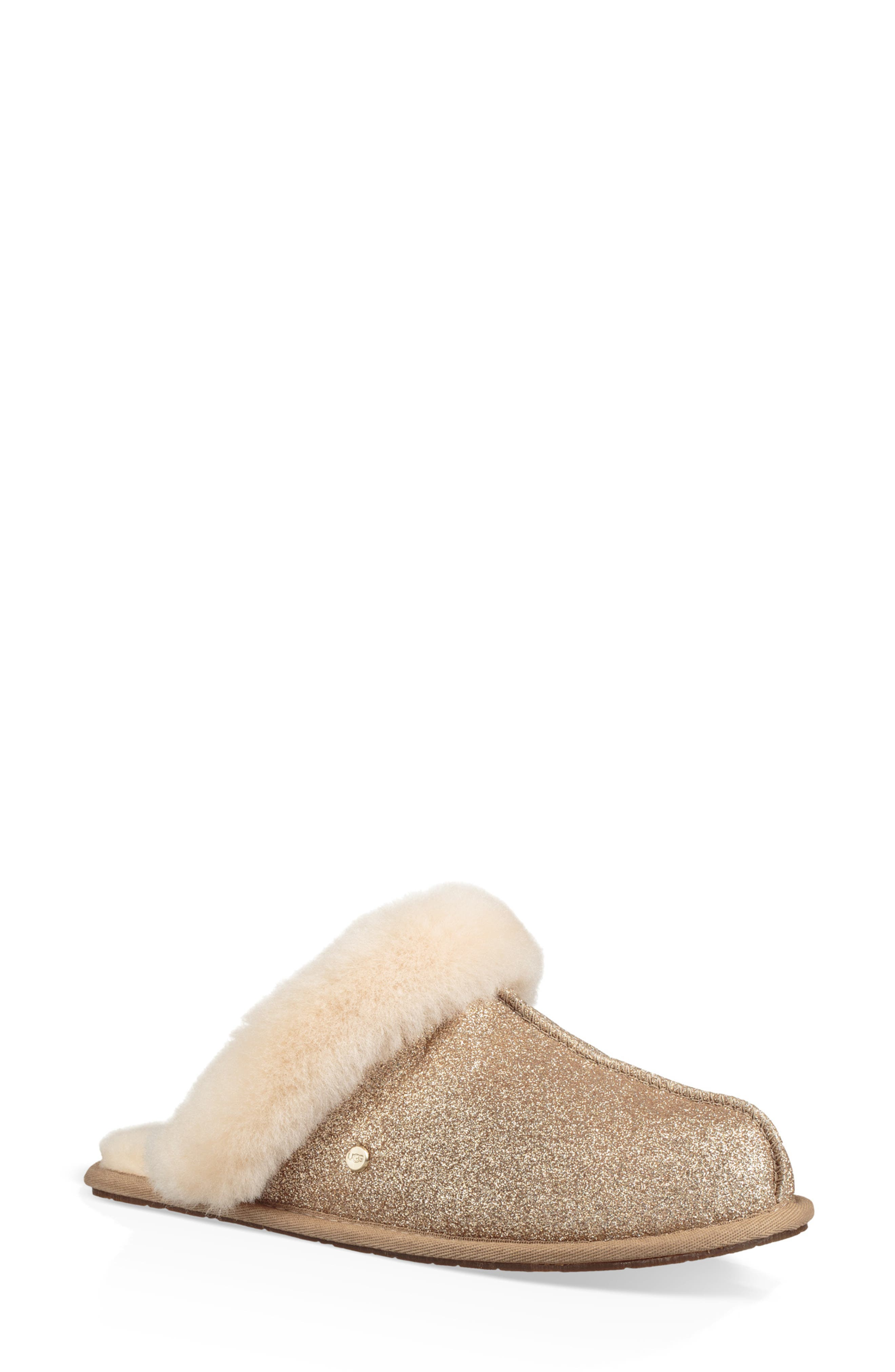 UGG<SUP>®</SUP>, Scuffette II Sparkle Genuine Shearling Slipper, Main thumbnail 1, color, GOLD