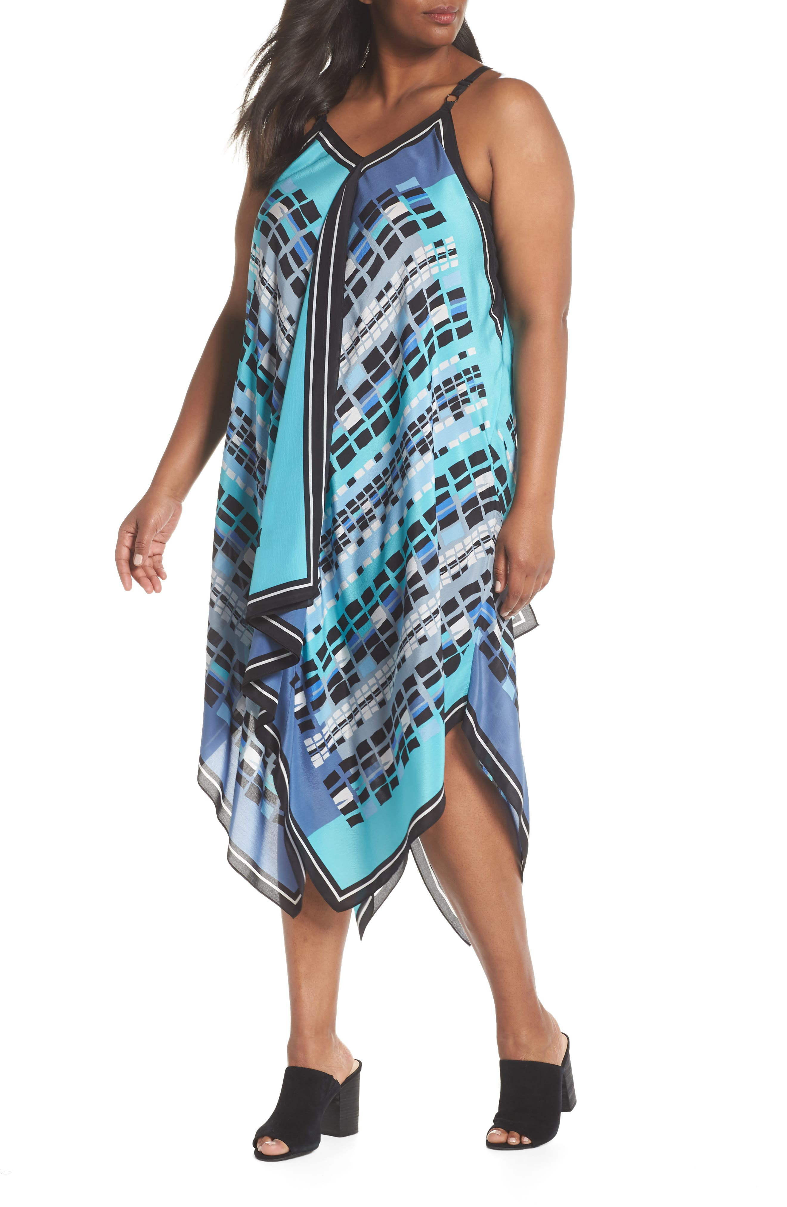 Plus Size Nic+Zoe From Above Print Silk Blend Dress, Blue