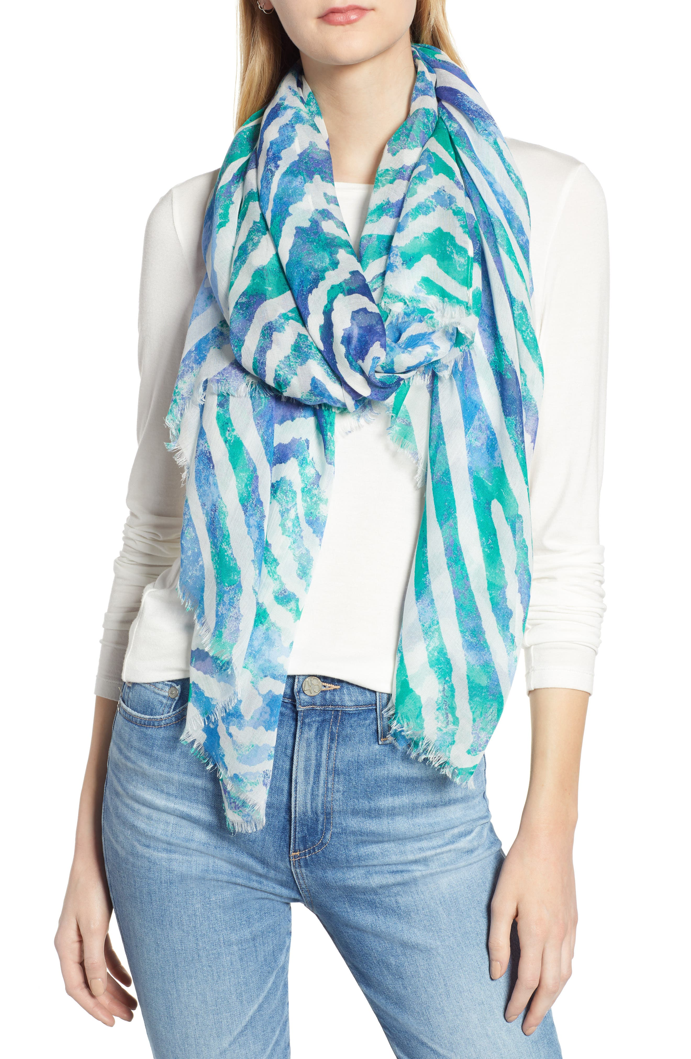 NORDSTROM, Print Modal & Silk Scarf, Main thumbnail 1, color, GREEN MEADOW CHIC
