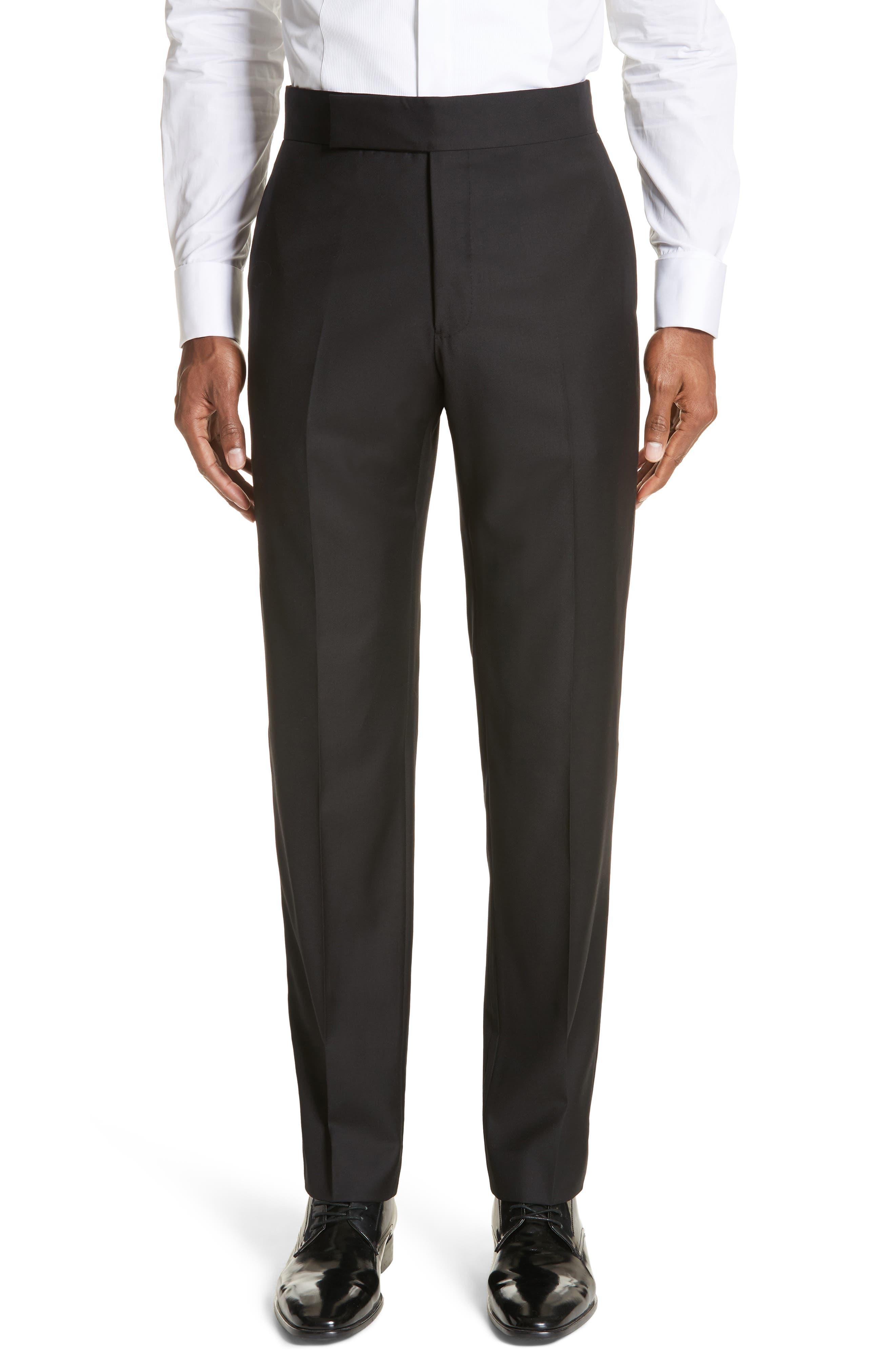 EMPORIO ARMANI, Trim Fit Wool Tuxedo, Alternate thumbnail 6, color, BLACK