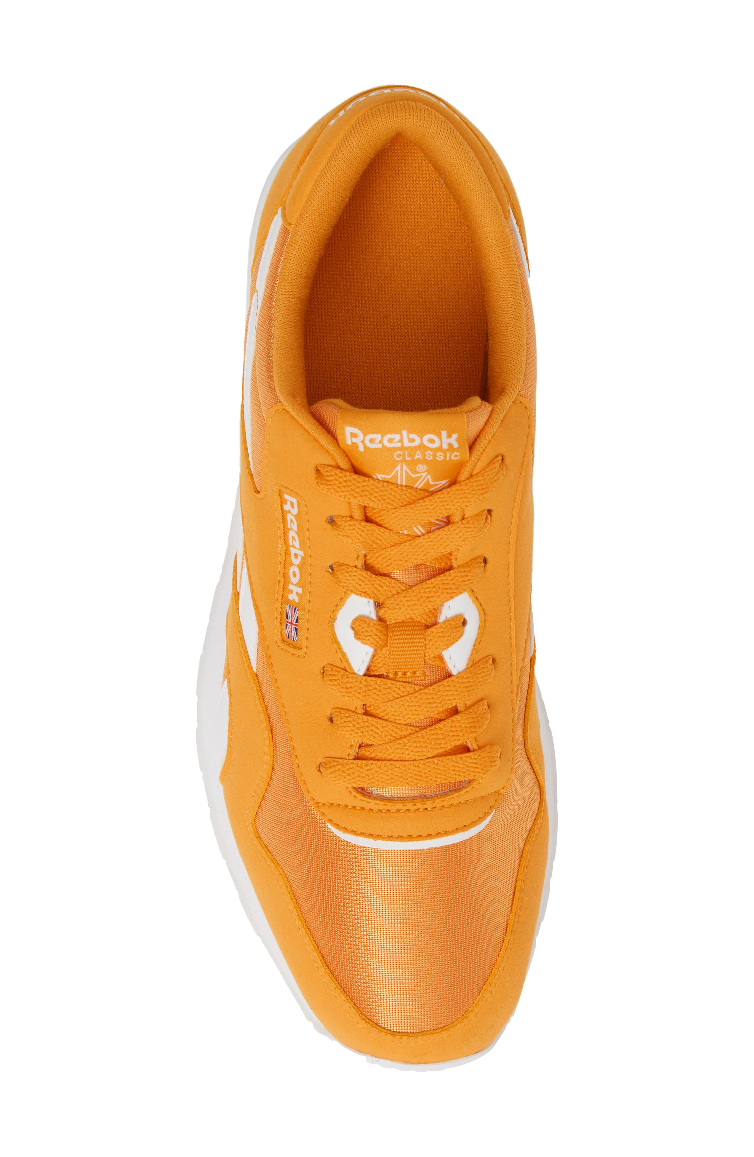 REEBOK, Classic Nylon Sneaker, Alternate thumbnail 5, color, TREK GOLD/ WHITE