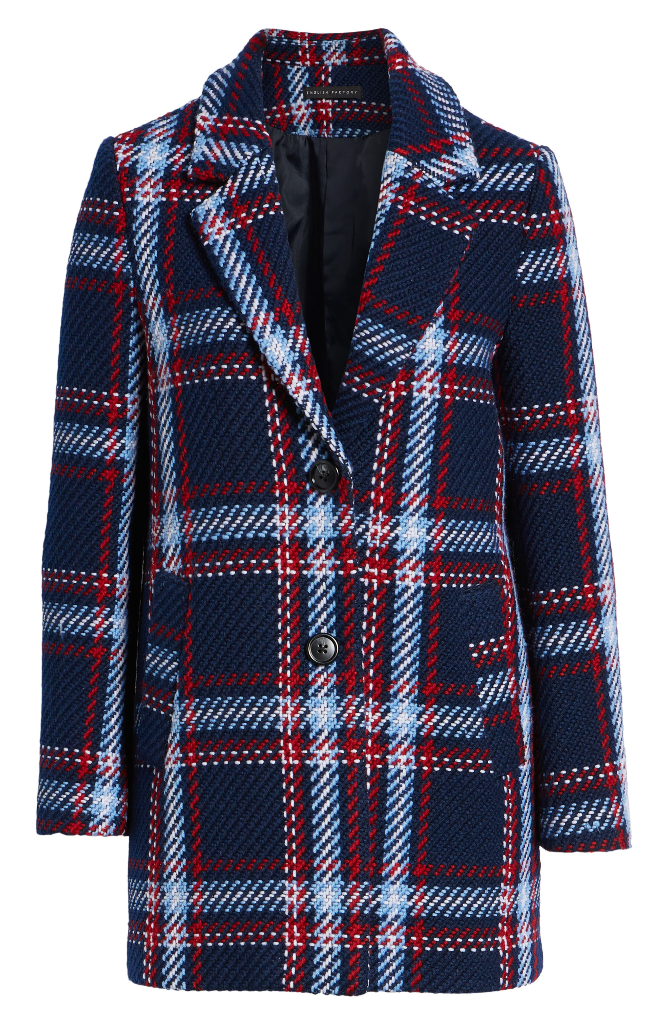 ENGLISH FACTORY, Single Breasted Plaid Coat, Alternate thumbnail 5, color, 001