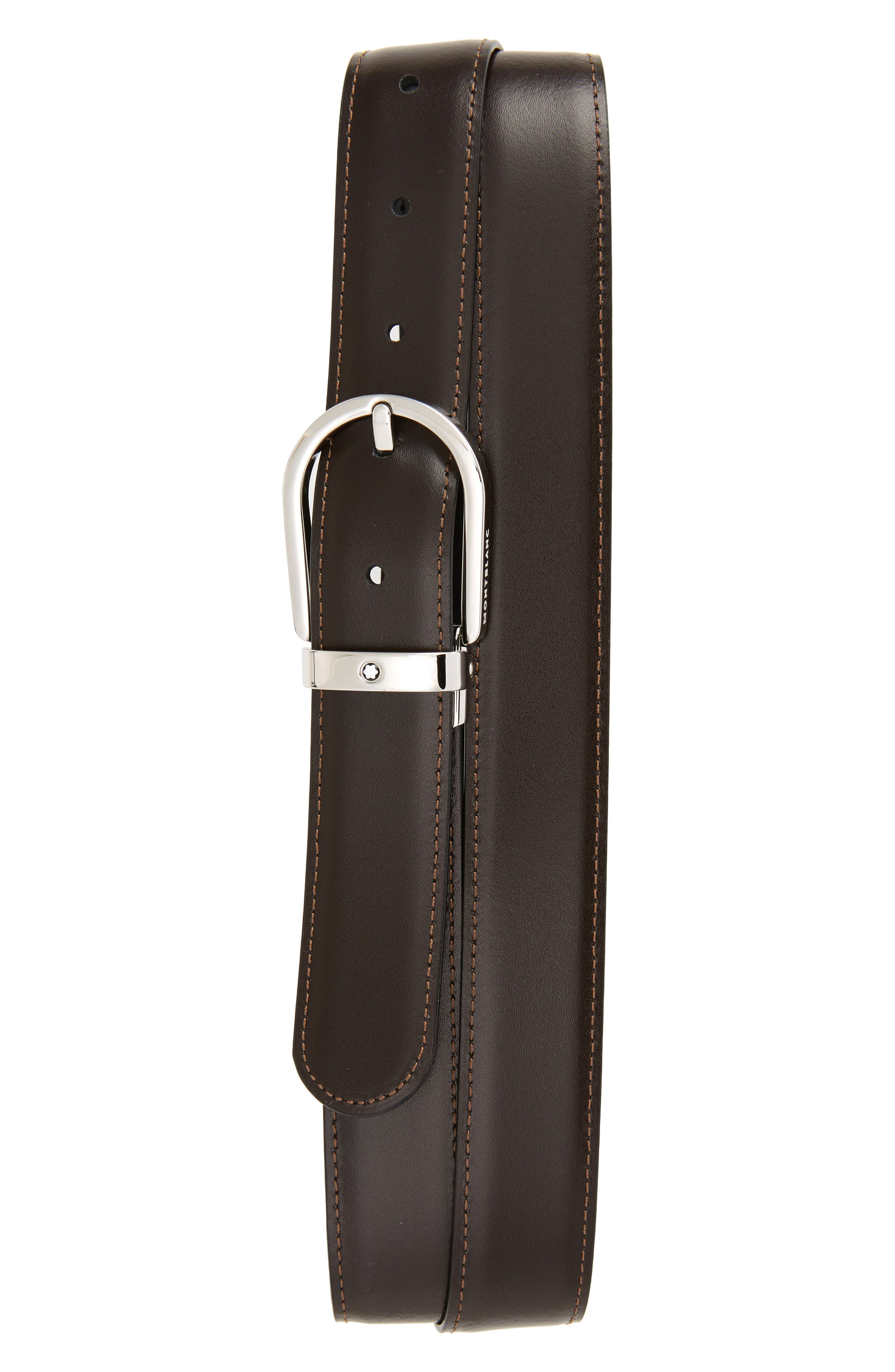 MONTBLANC, Horseshoe Buckle Reversible Leather Belt, Alternate thumbnail 2, color, BLACK/ BROWN