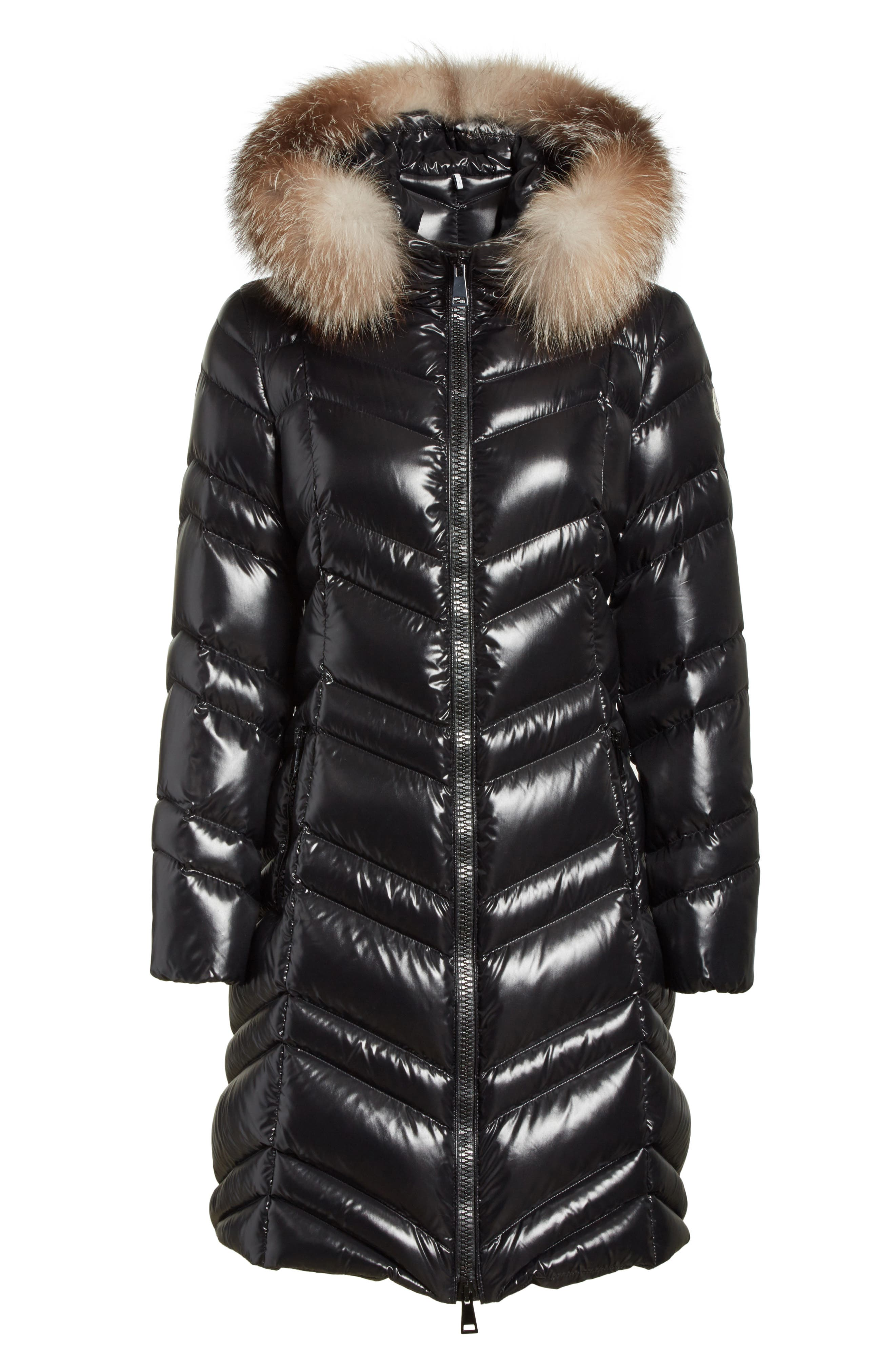MONCLER, Fulmar Hooded Down Puffer Coat with Removable Genuine Fox Fur Trim, Alternate thumbnail 6, color, BLACK