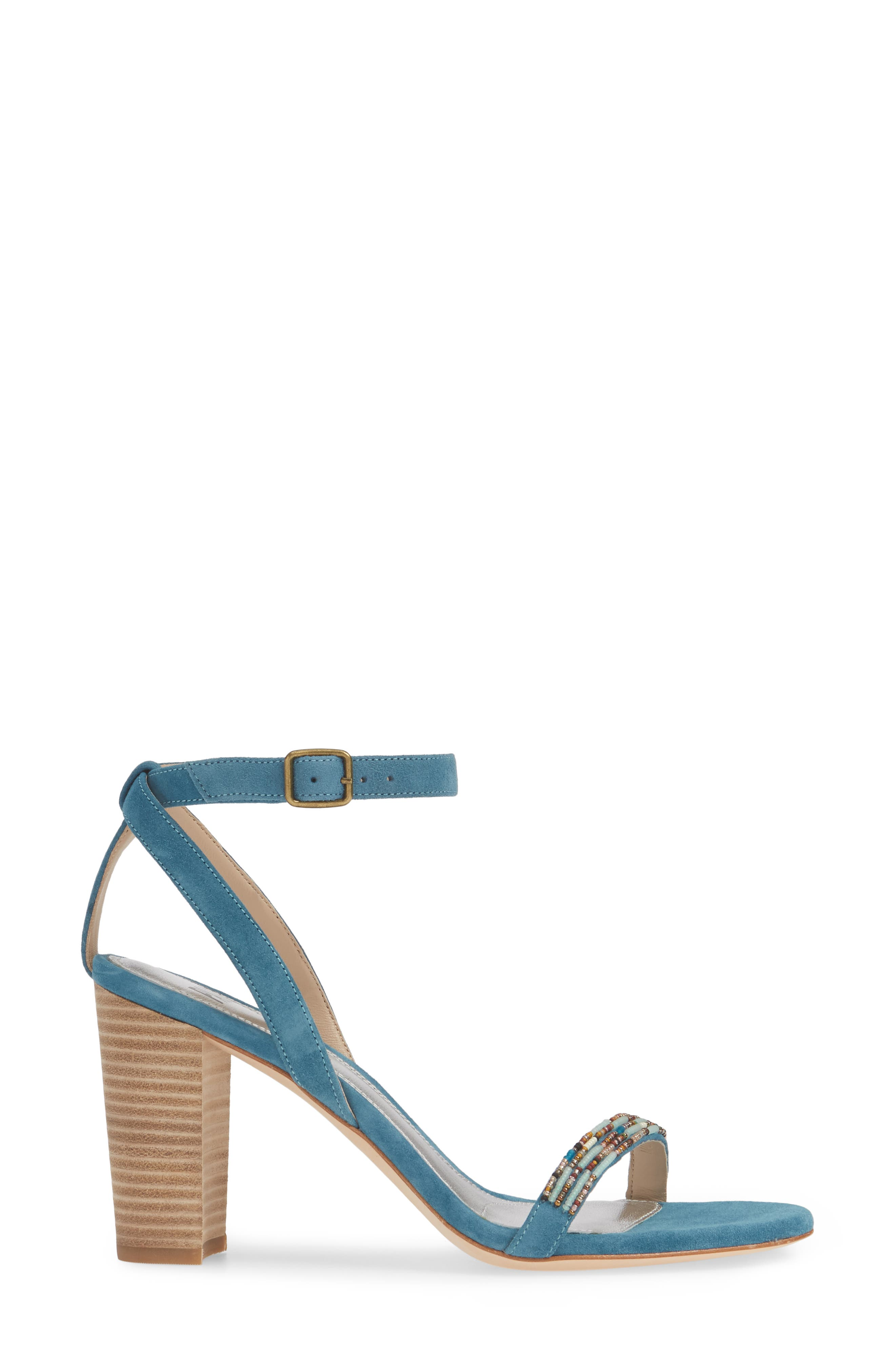 PAIGE, Gabriella Beaded Sandal, Alternate thumbnail 3, color, BLUE