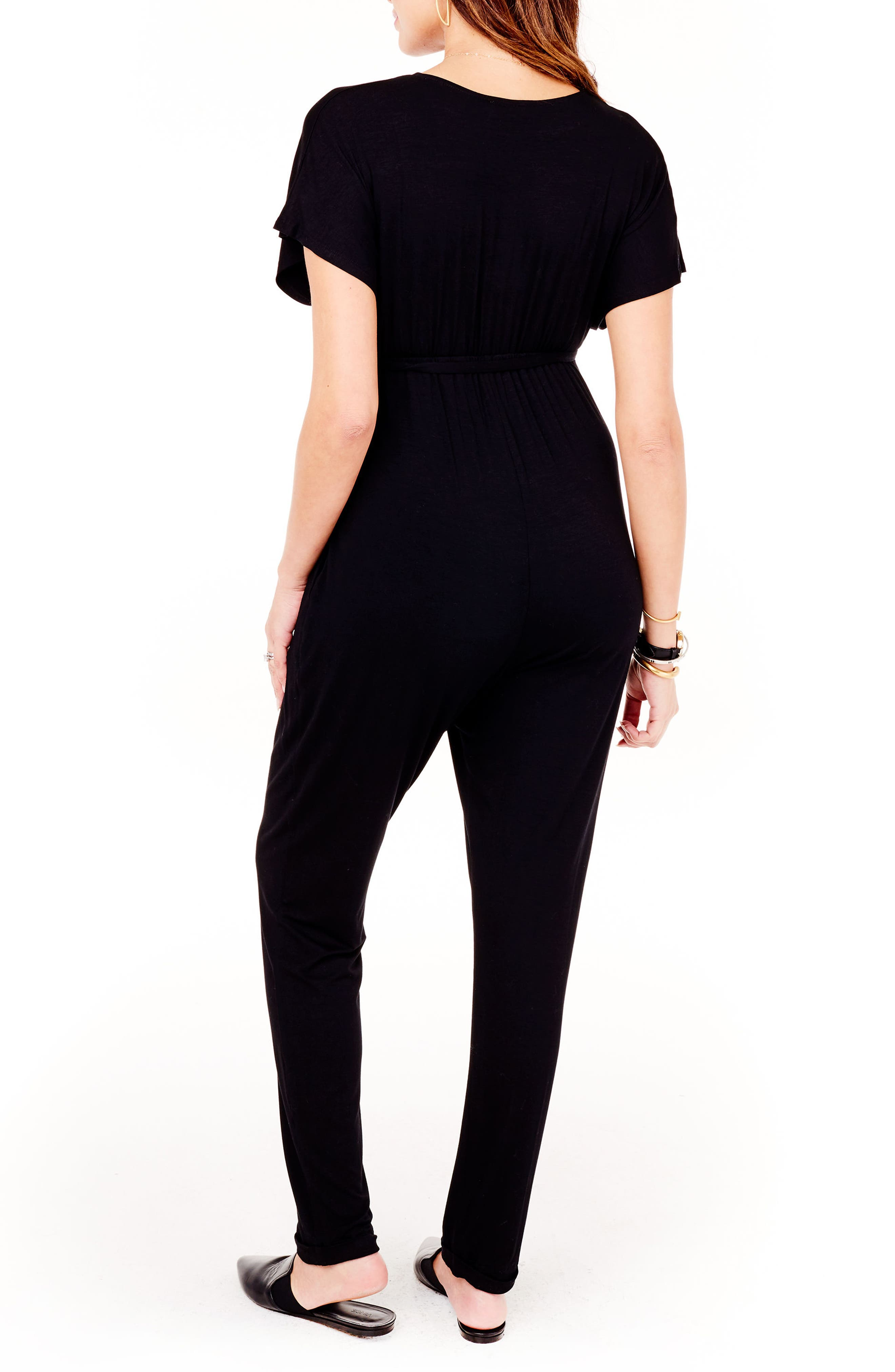 INGRID & ISABEL<SUP>®</SUP>, Crossover Maternity Jumpsuit, Alternate thumbnail 2, color, JET BLACK