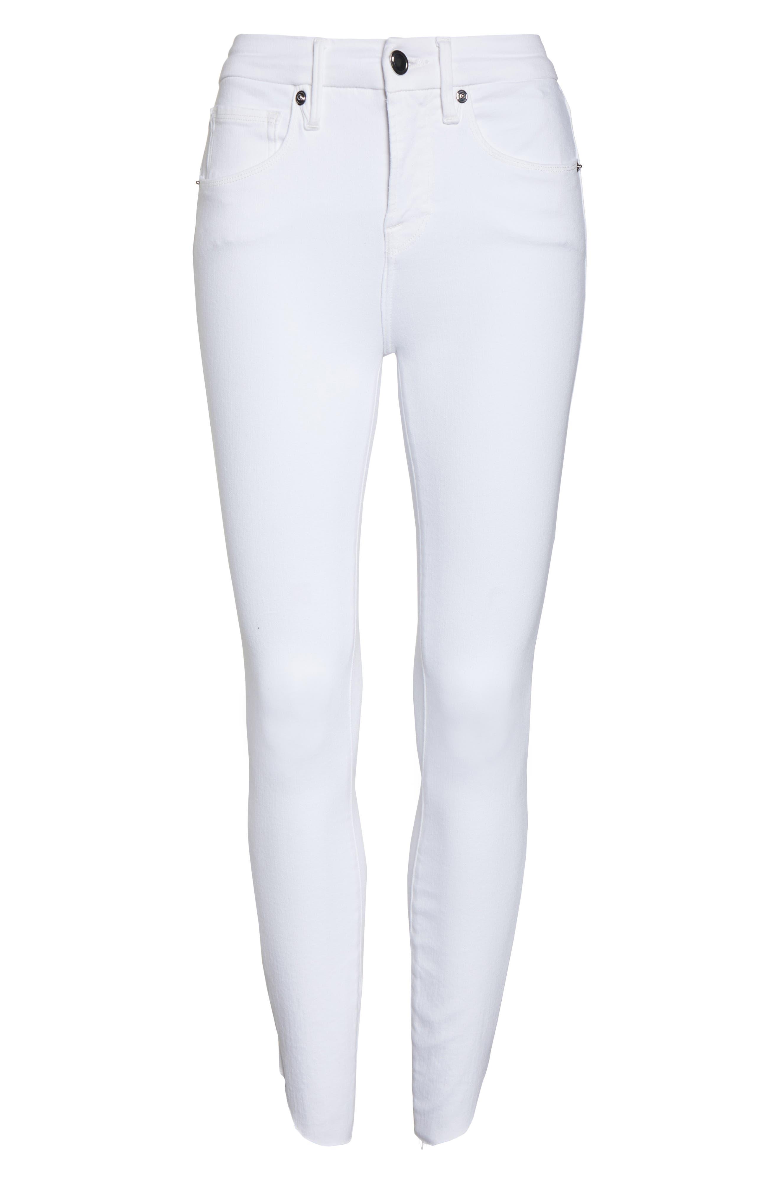 GOOD AMERICAN, Good Legs Cascade Hem Skinny Jeans, Alternate thumbnail 6, color, WHITE001
