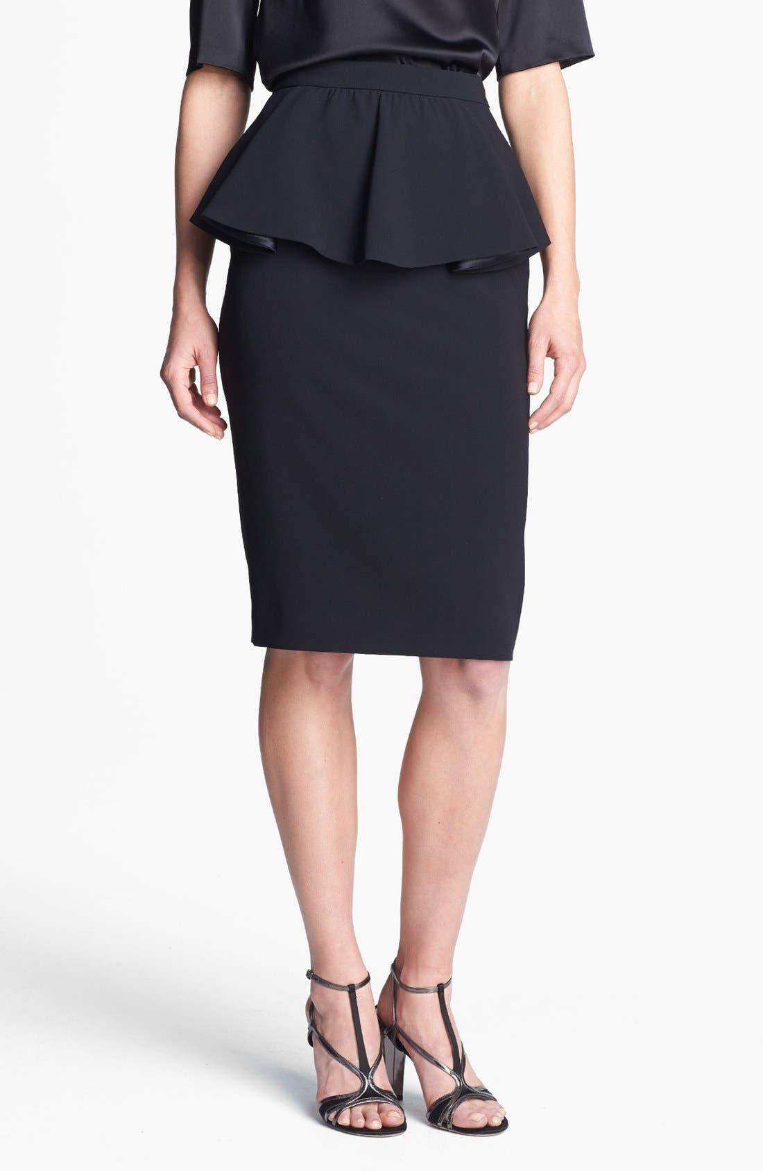 ST. JOHN COLLECTION, Draped Peplum Crepe Marocain Skirt, Main thumbnail 1, color, 001