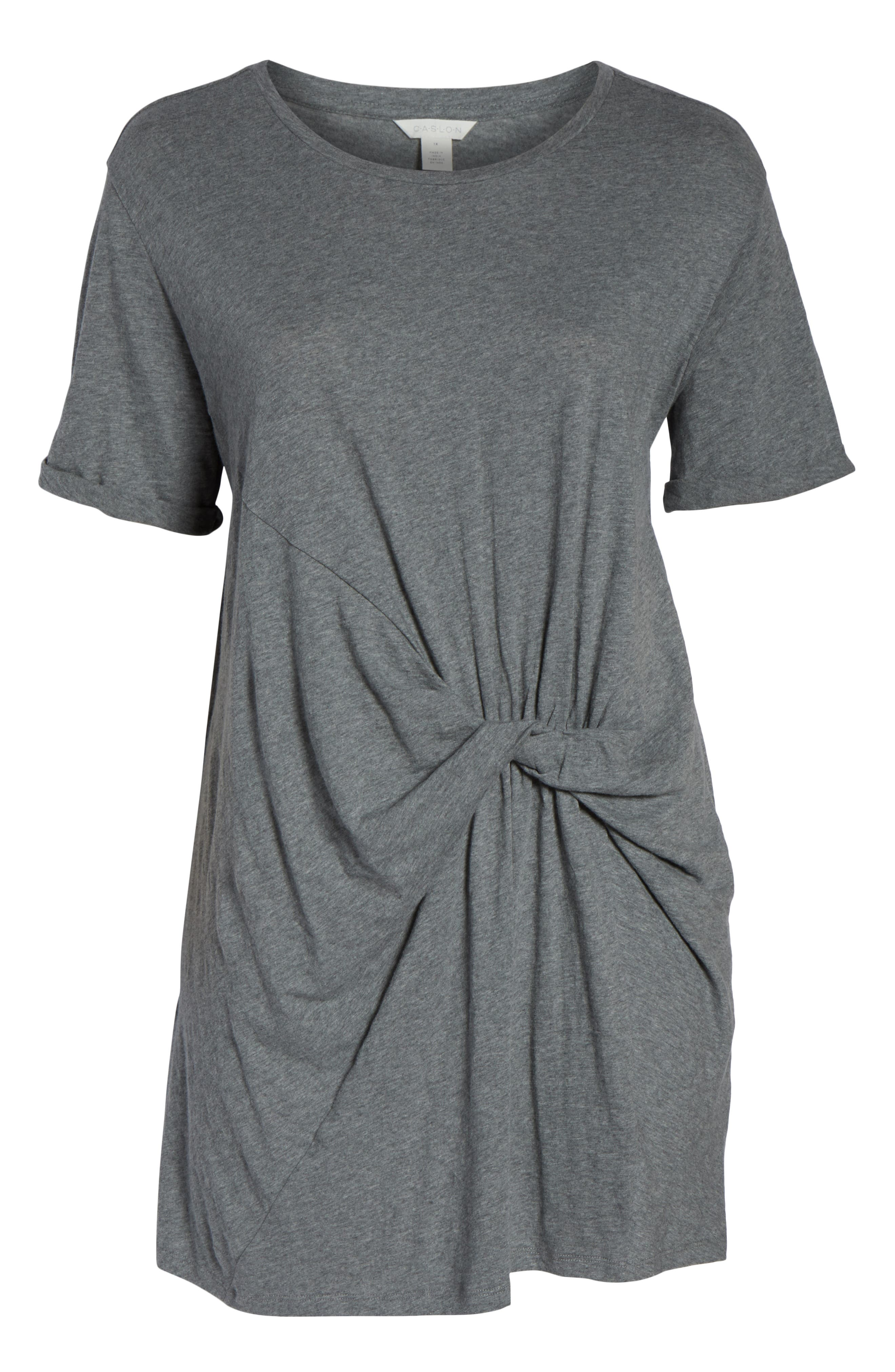 CASLON<SUP>®</SUP>, Knot Front T-Shirt Dress, Alternate thumbnail 7, color, GREY DARK HEATHER