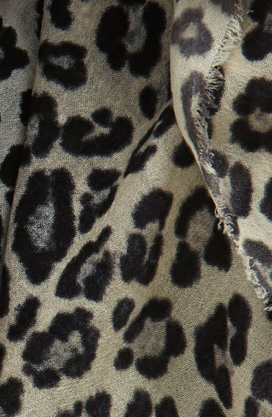 NORDSTROM, 'Luxe Animal' Challis Scarf, Alternate thumbnail 3, color, 020