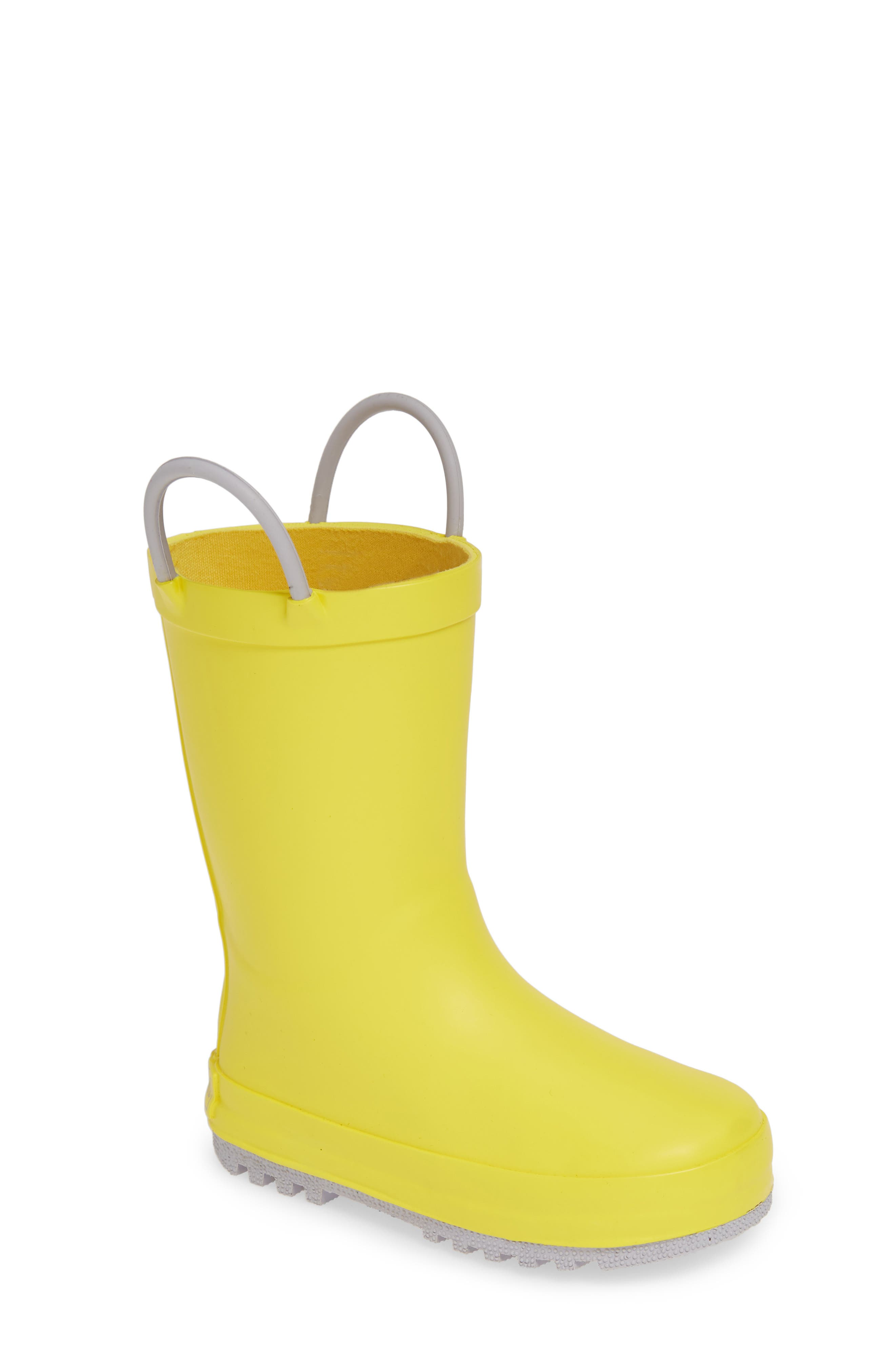 TUCKER + TATE, Puddle Rain Boot, Main thumbnail 1, color, YELLOW/ GREY RUBBER