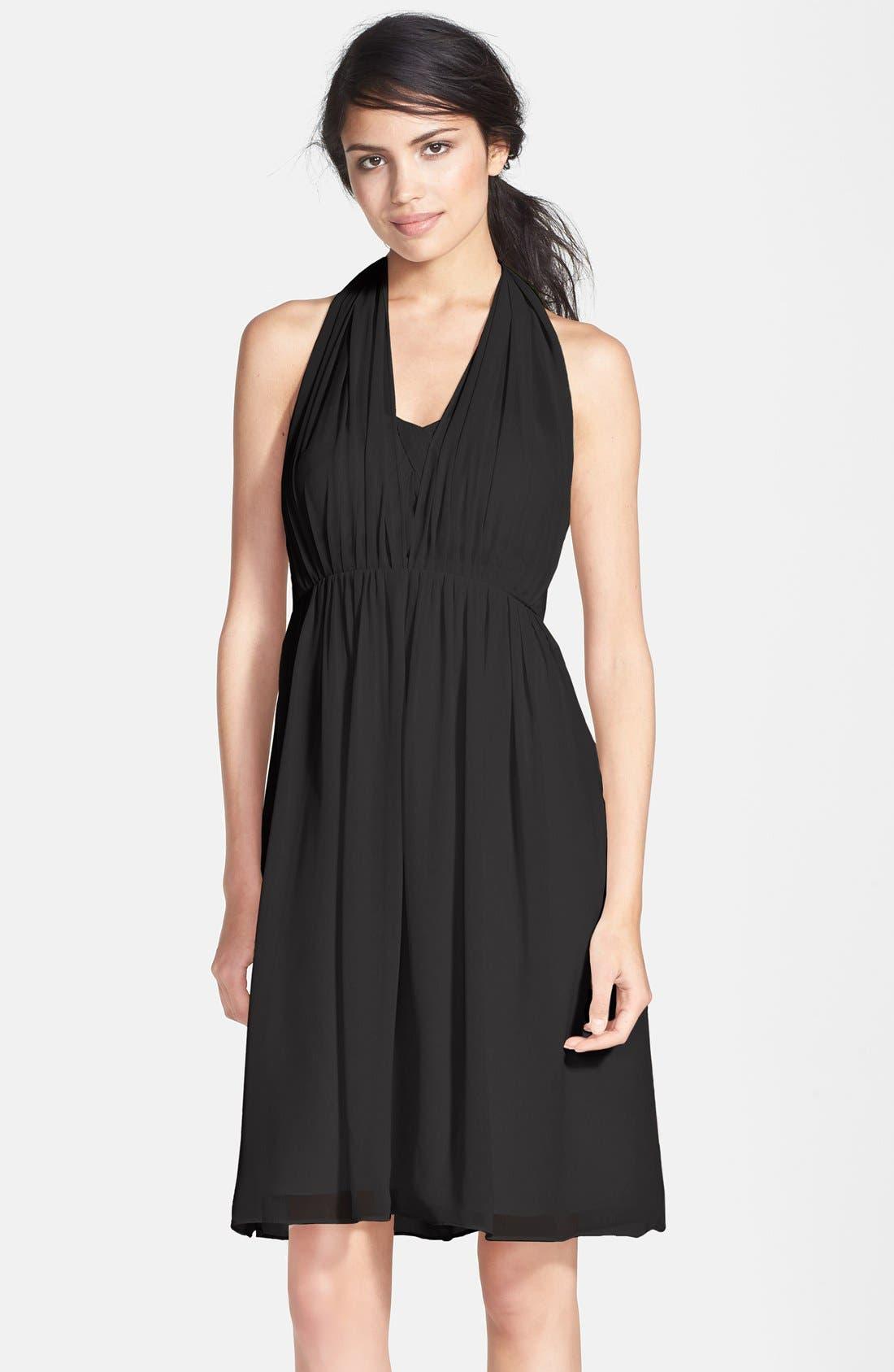 JENNY YOO, Keira Convertible Strapless Chiffon Dress, Main thumbnail 1, color, 001