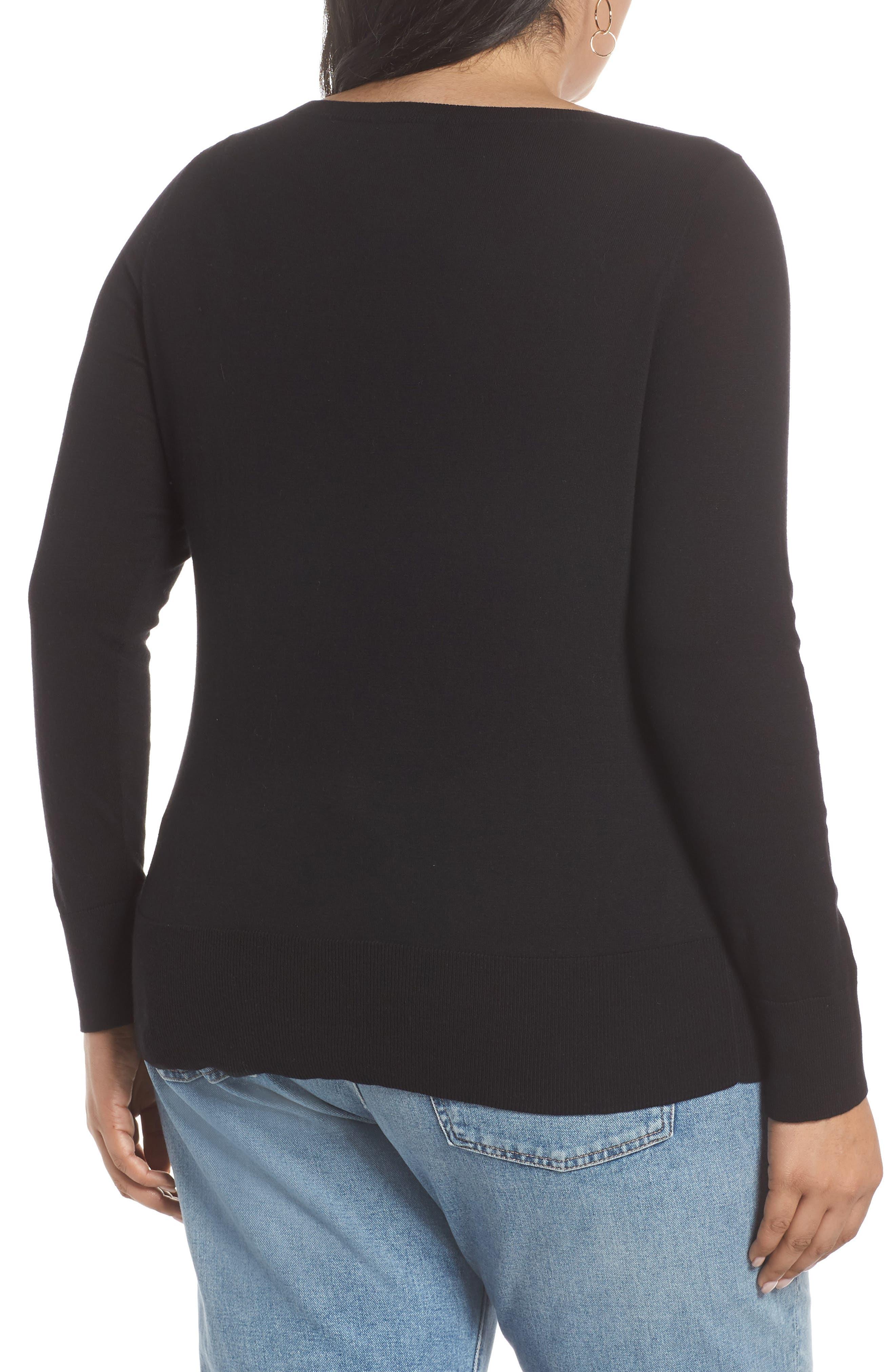 HALOGEN<SUP>®</SUP>, Bateau Neck Sweater, Alternate thumbnail 2, color, BLACK