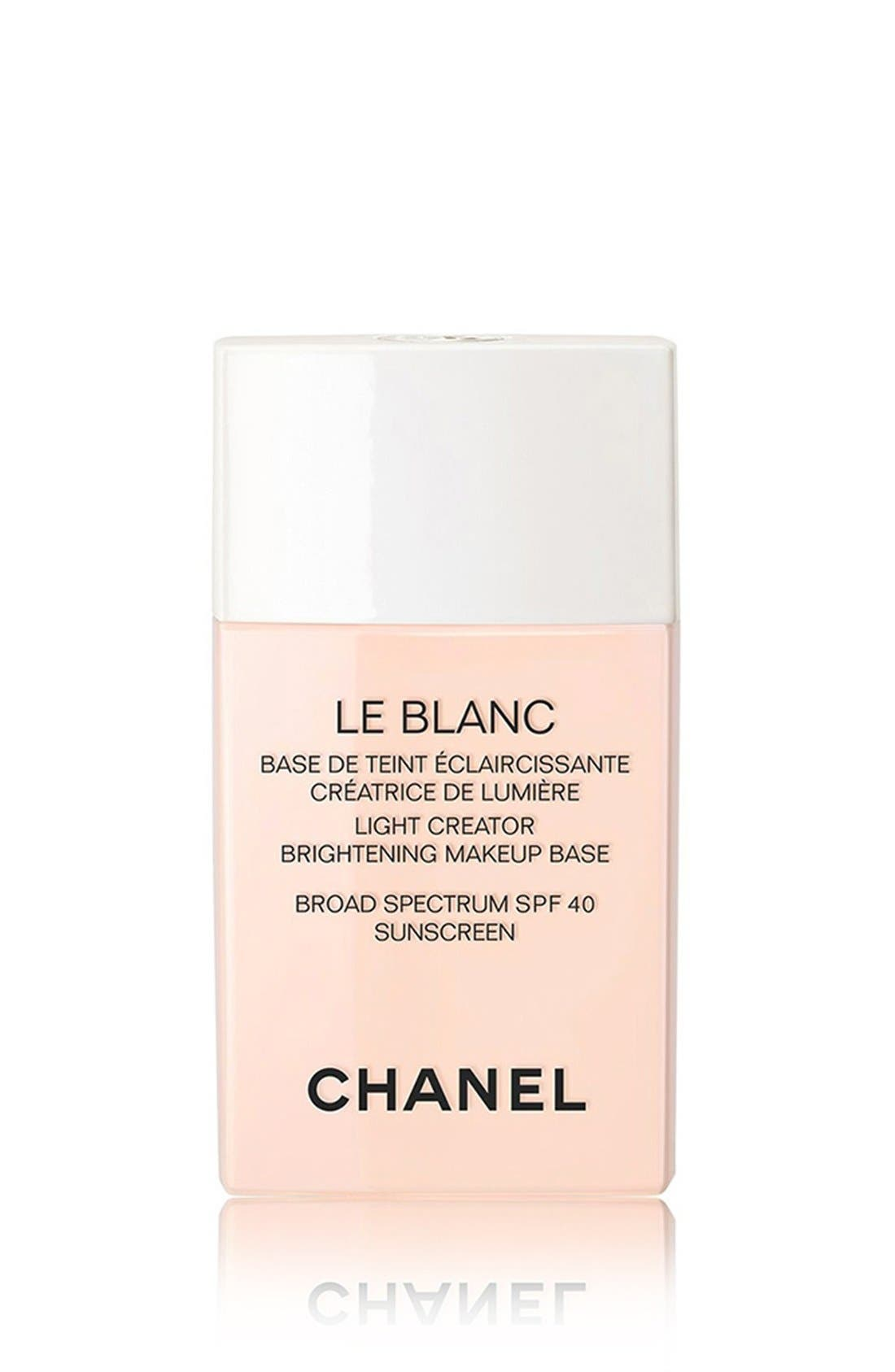 CHANEL, LE BLANC LIGHT CREATOR<br />Brightening Makeup Base Broad Spectrum SPF 40 Sunscreen, Main thumbnail 1, color, ROSE