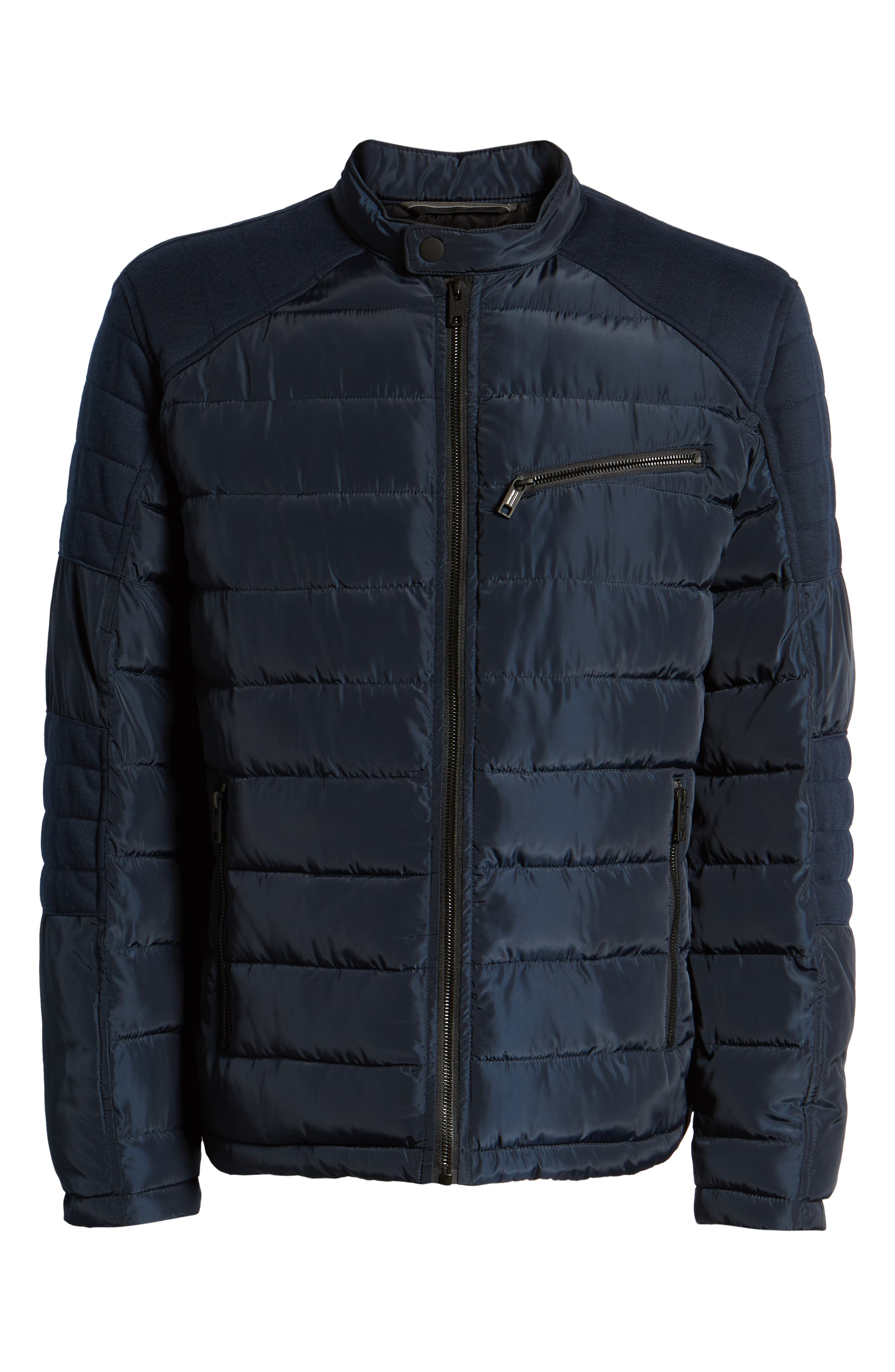 MARC NEW YORK, Wilsow Quilted Moto Jacket, Alternate thumbnail 5, color, NAVY