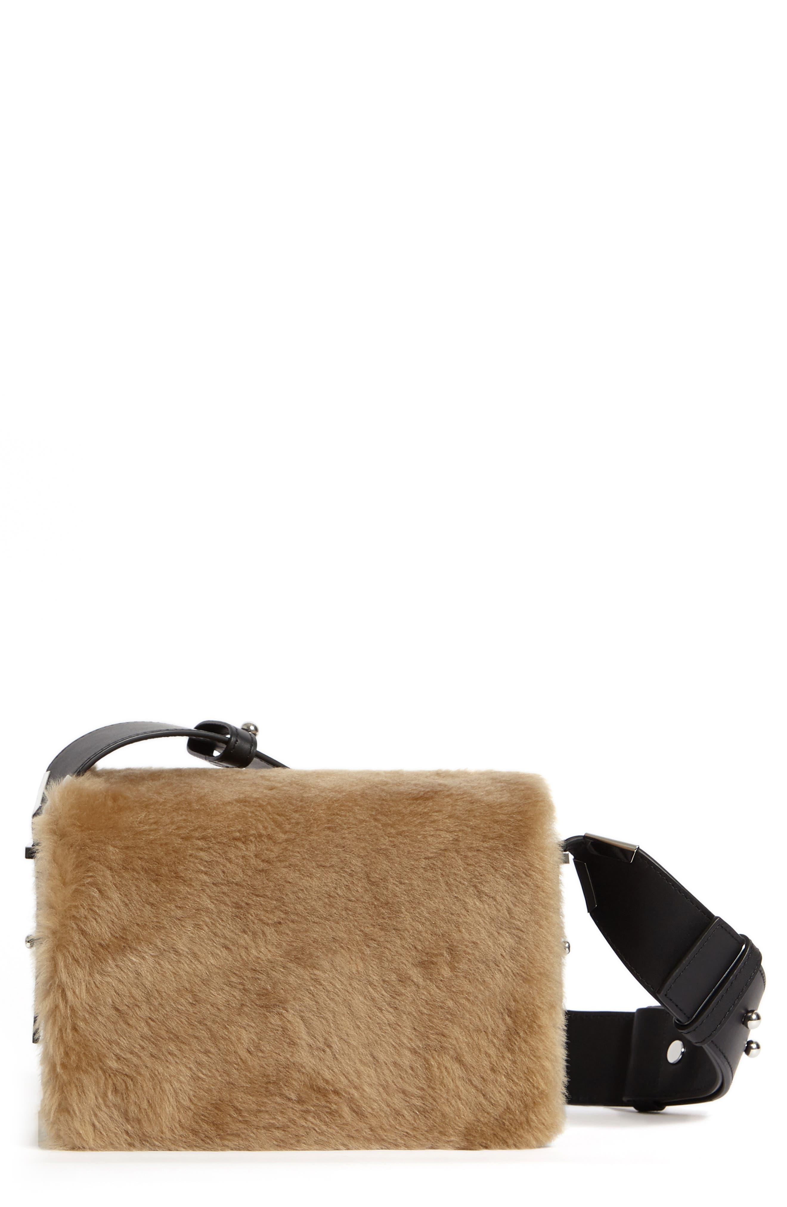ALLSAINTS Versailles Leather & Genuine Shearling Shoulder Bag, Main, color, CAMEL