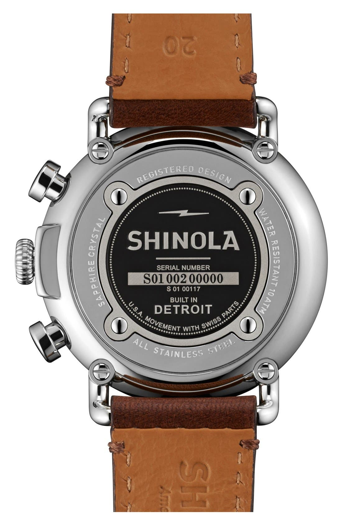 SHINOLA, 'The Runwell Chrono' Leather Strap Watch, 41mm, Alternate thumbnail 5, color, DARK BROWN/ BLUE