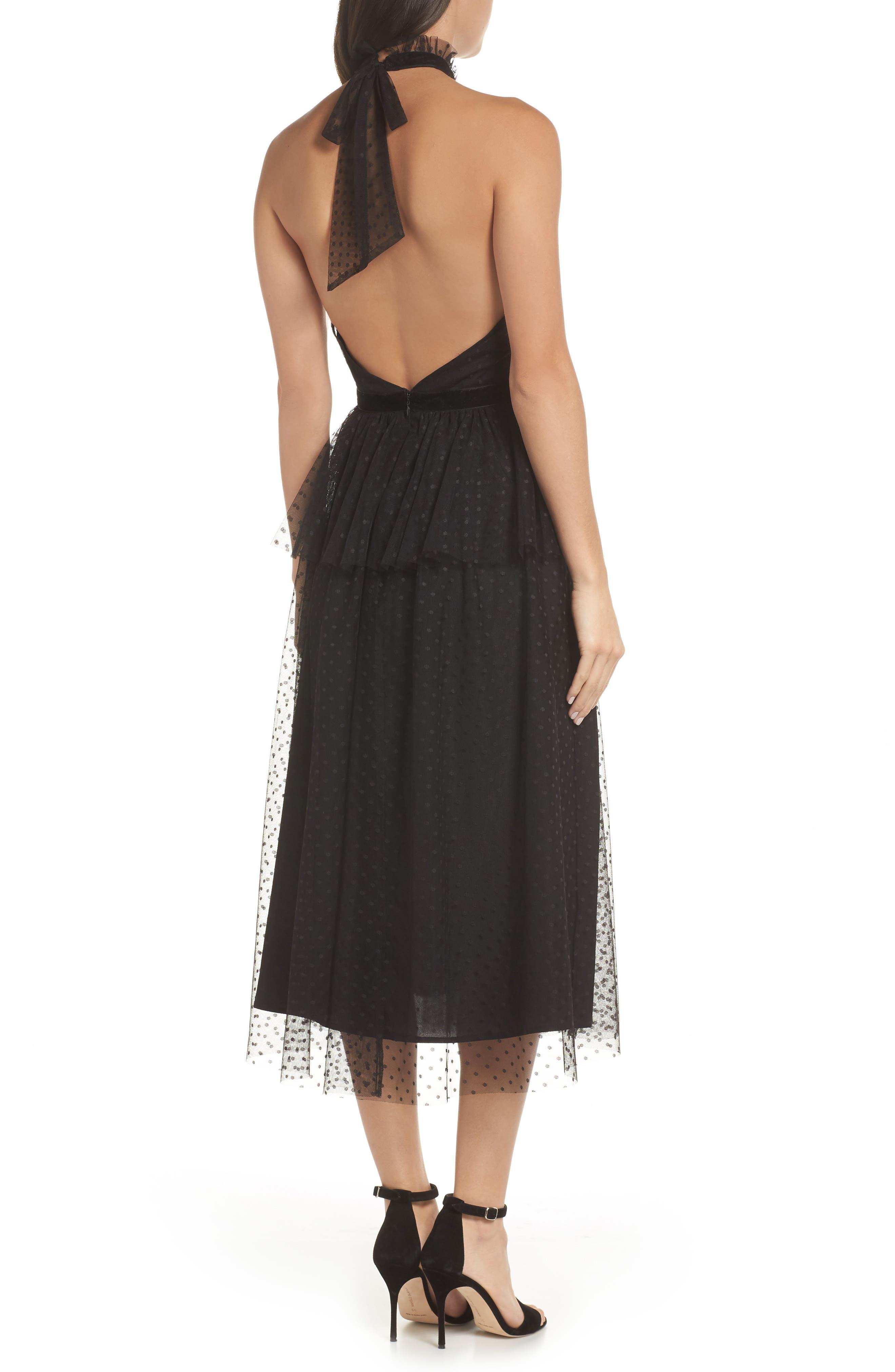 AVEC LES FILLES, Tiered Tulle Dress, Alternate thumbnail 2, color, BLACK