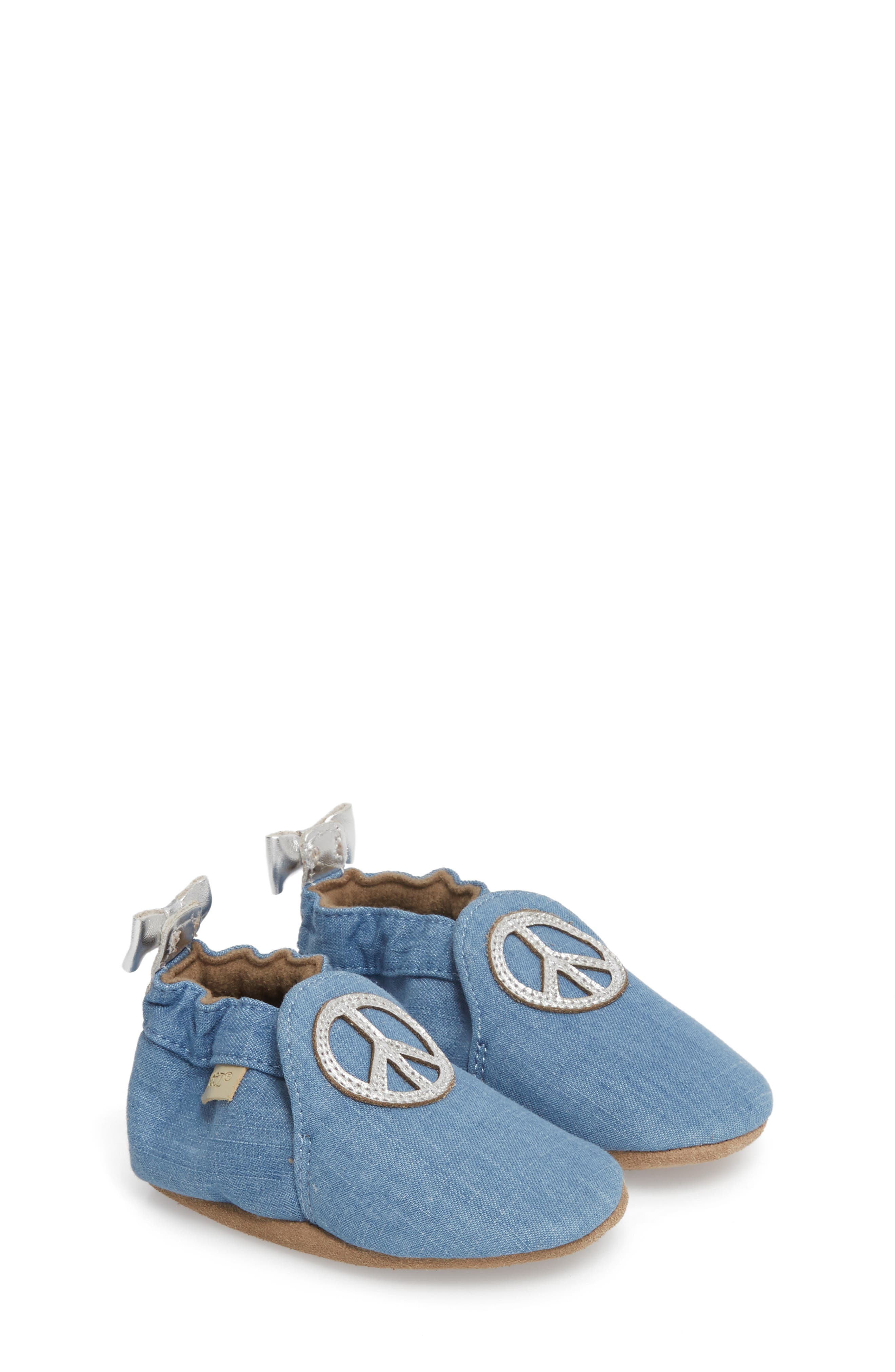 ROBEEZ<SUP>®</SUP> Peace Out Moccasin Crib Shoe, Main, color, BLUE