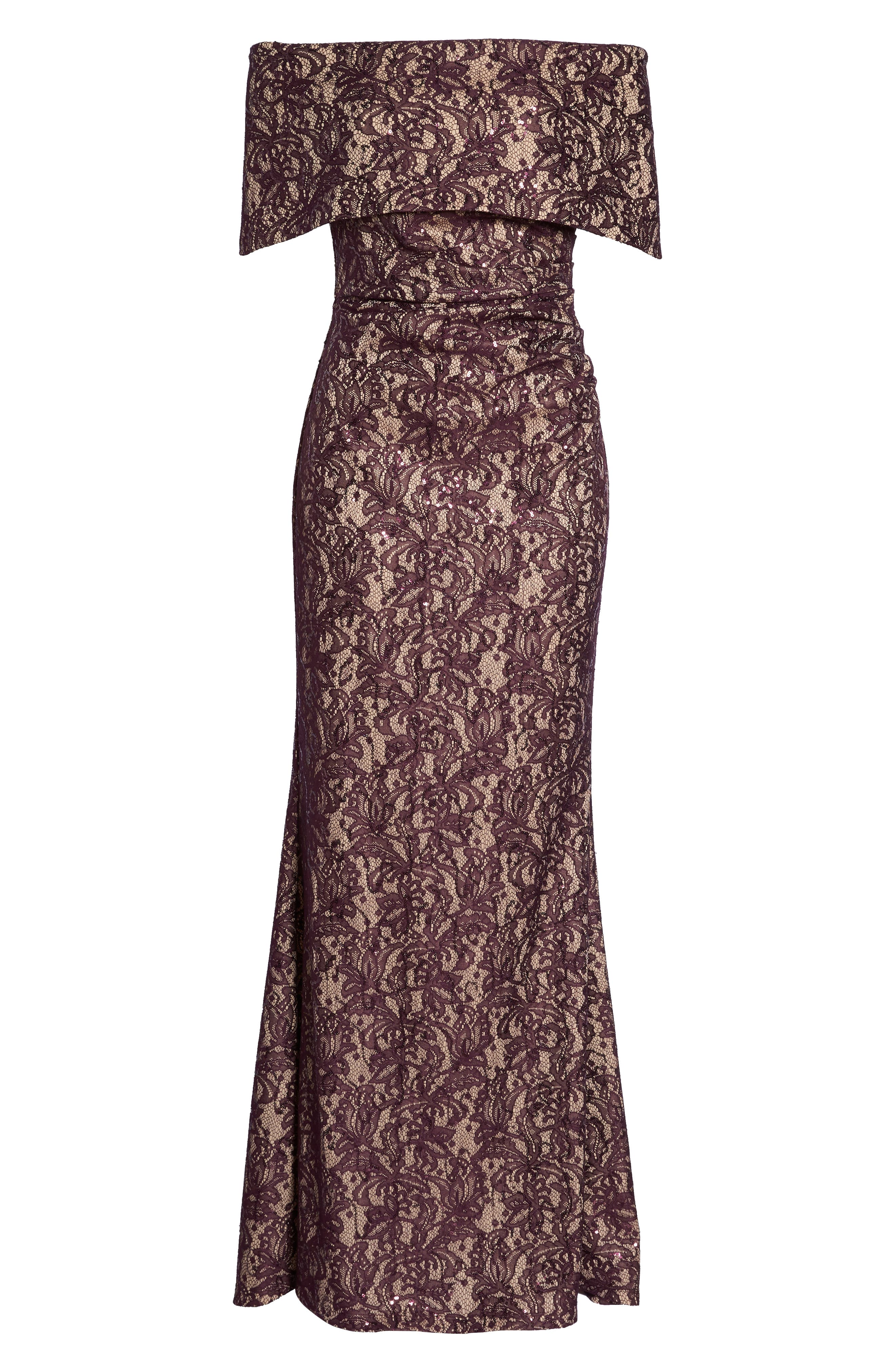 VINCE CAMUTO, Sequin Off the Shoulder Gown, Alternate thumbnail 7, color, WINE