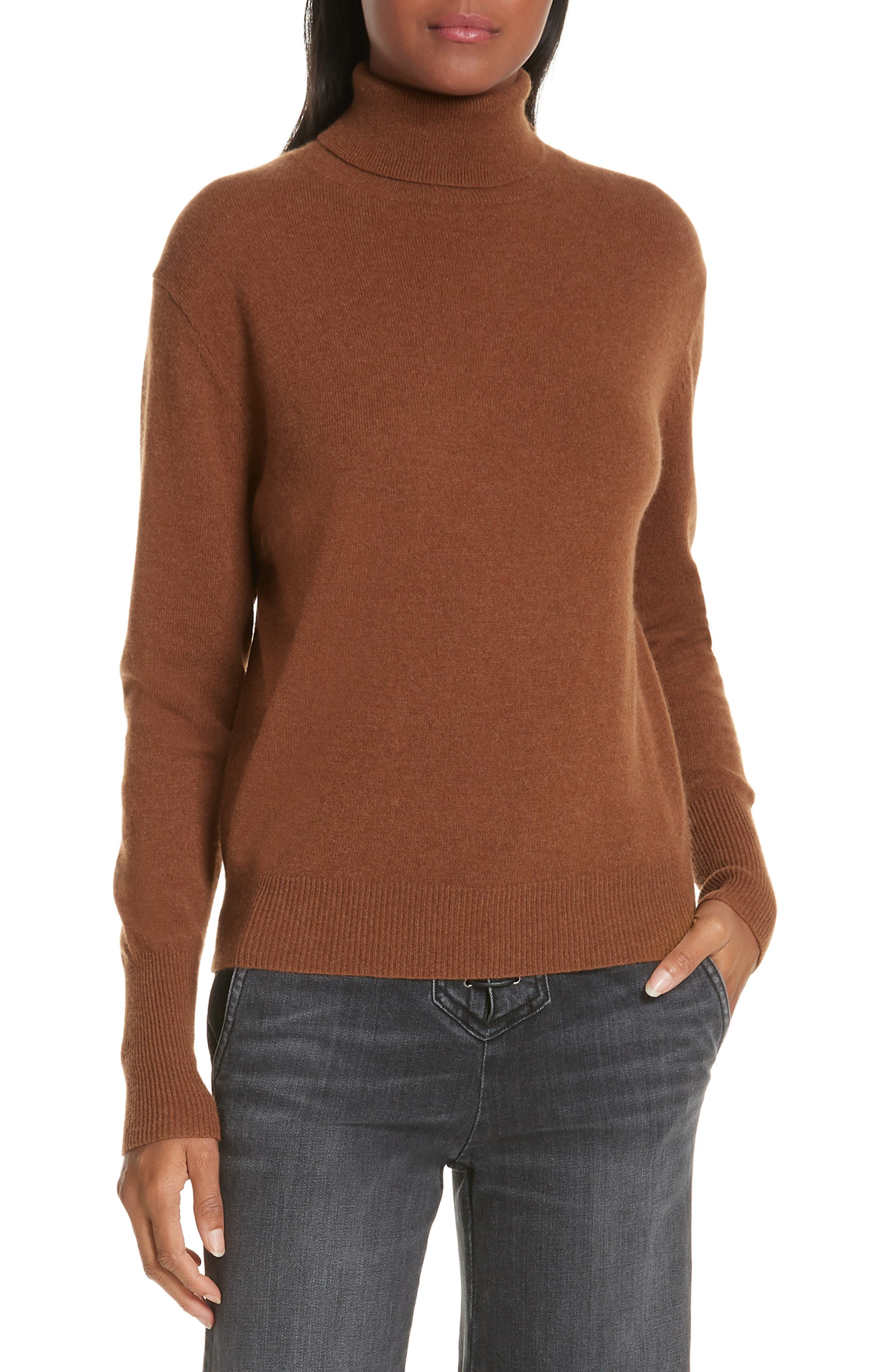 NILI LOTAN, Ralphie Cashmere Turtleneck Sweater, Main thumbnail 1, color, COGNAC