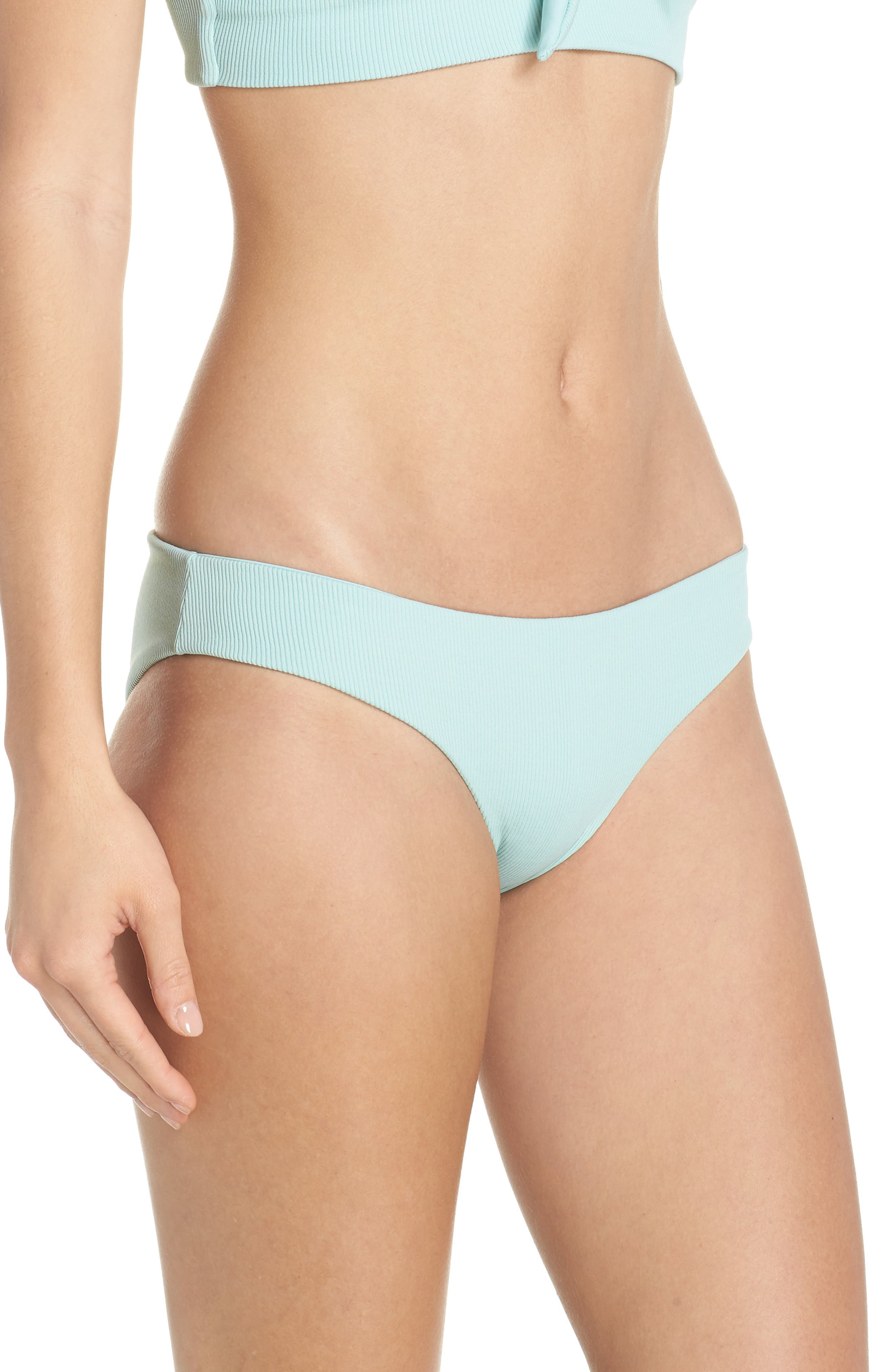 L SPACE, Sandy Bikini Bottoms, Alternate thumbnail 3, color, LIGHT TURQUOISE