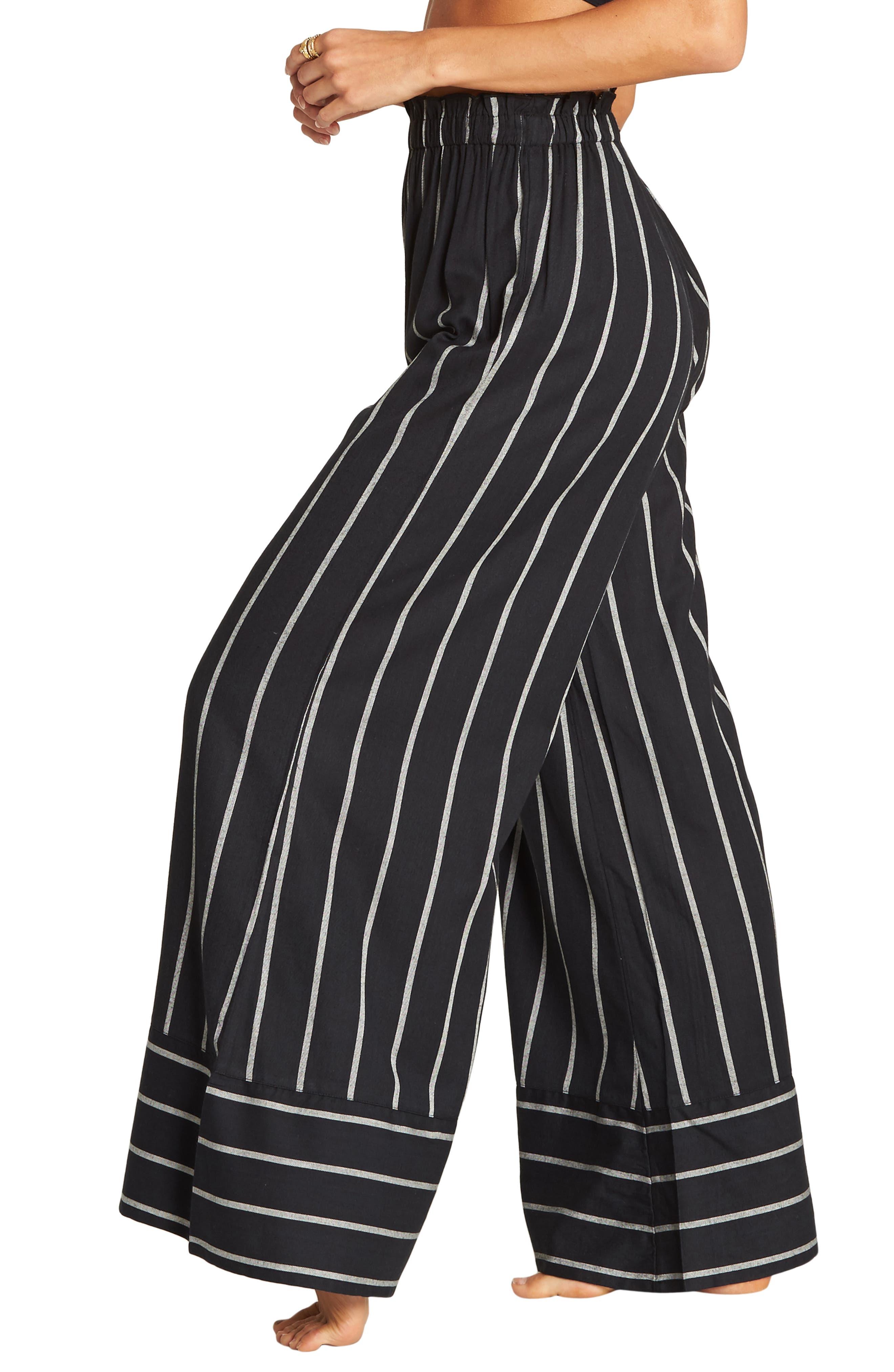 BILLABONG, Flip Out Stripe Wide Leg Pants, Alternate thumbnail 4, color, BLACK