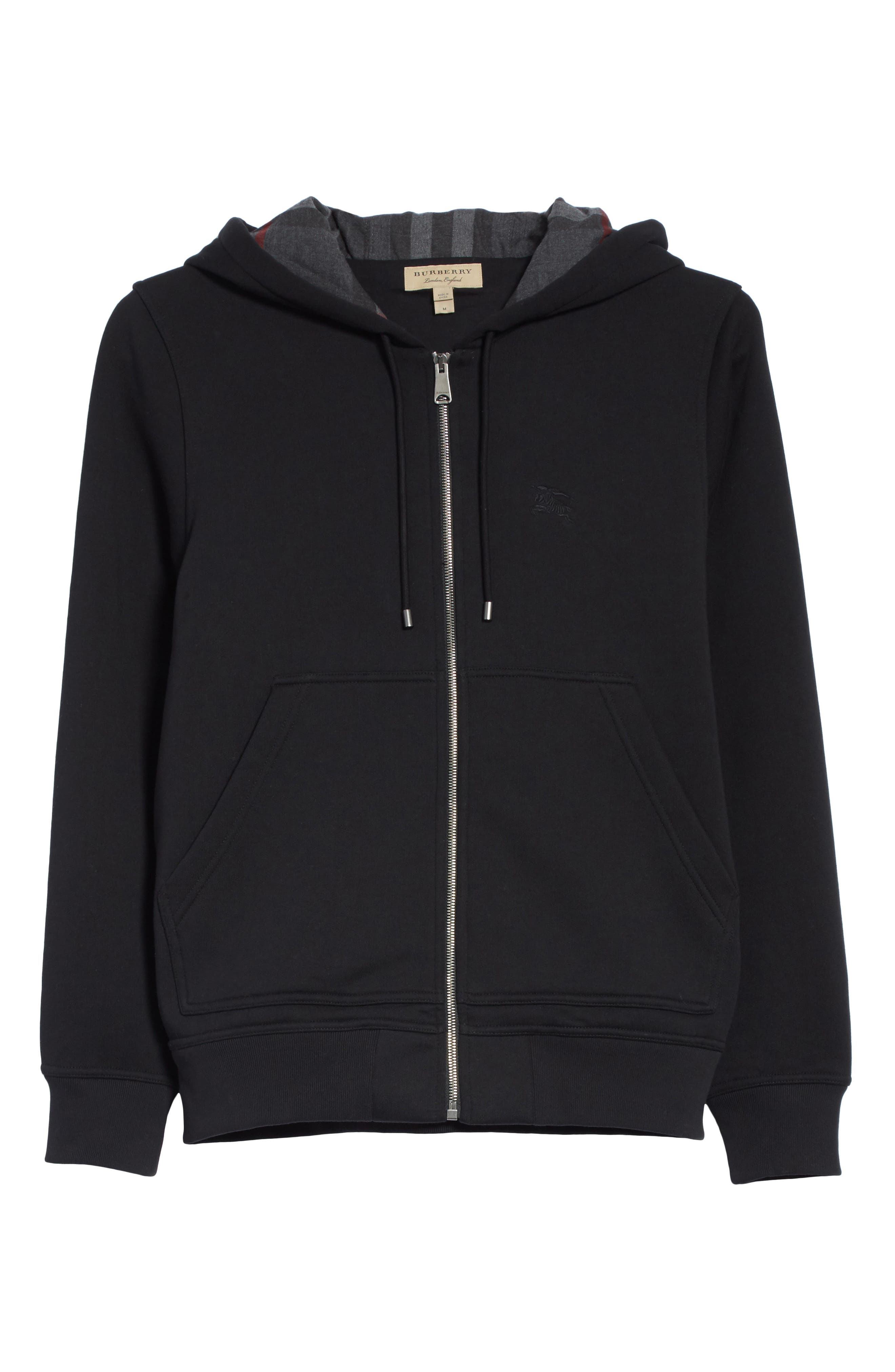 BURBERRY, Fordson Fleece Hoodie, Alternate thumbnail 6, color, BLACK