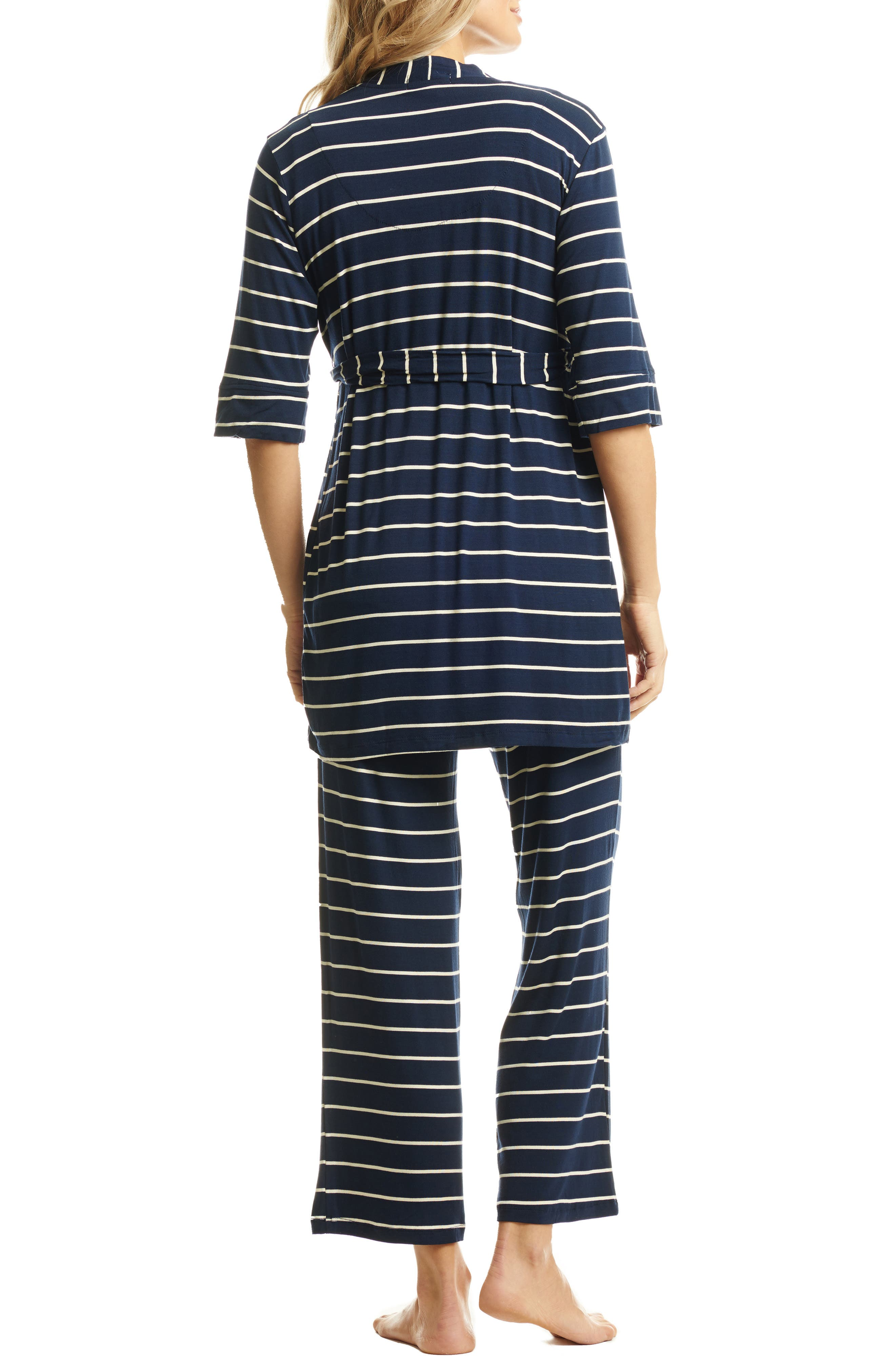 EVERLY GREY, Roxanne - During & After 5-Piece Maternity Sleepwear Set, Alternate thumbnail 2, color, NAVY