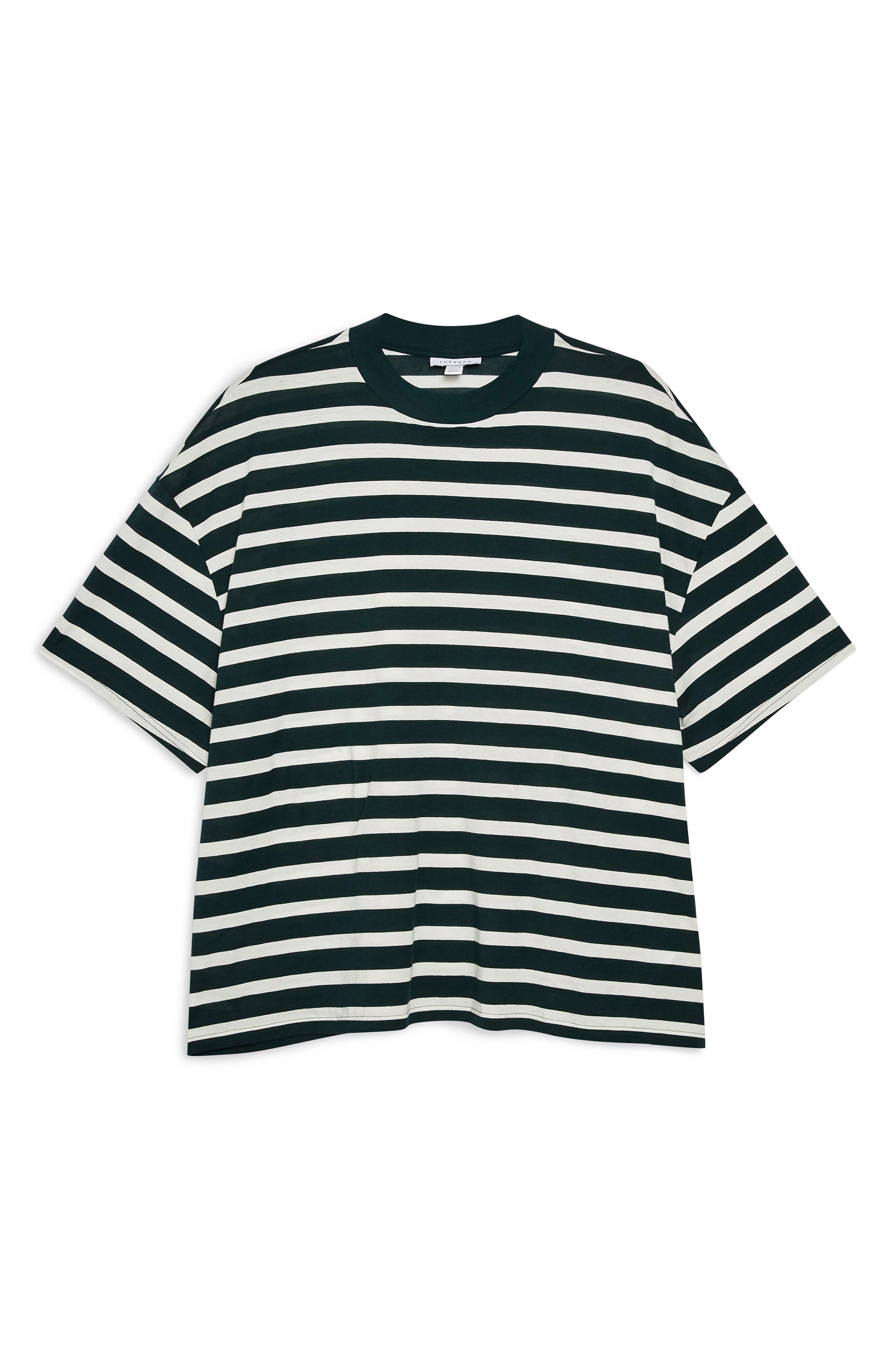TOPSHOP, Stripe Tee, Alternate thumbnail 3, color, 340