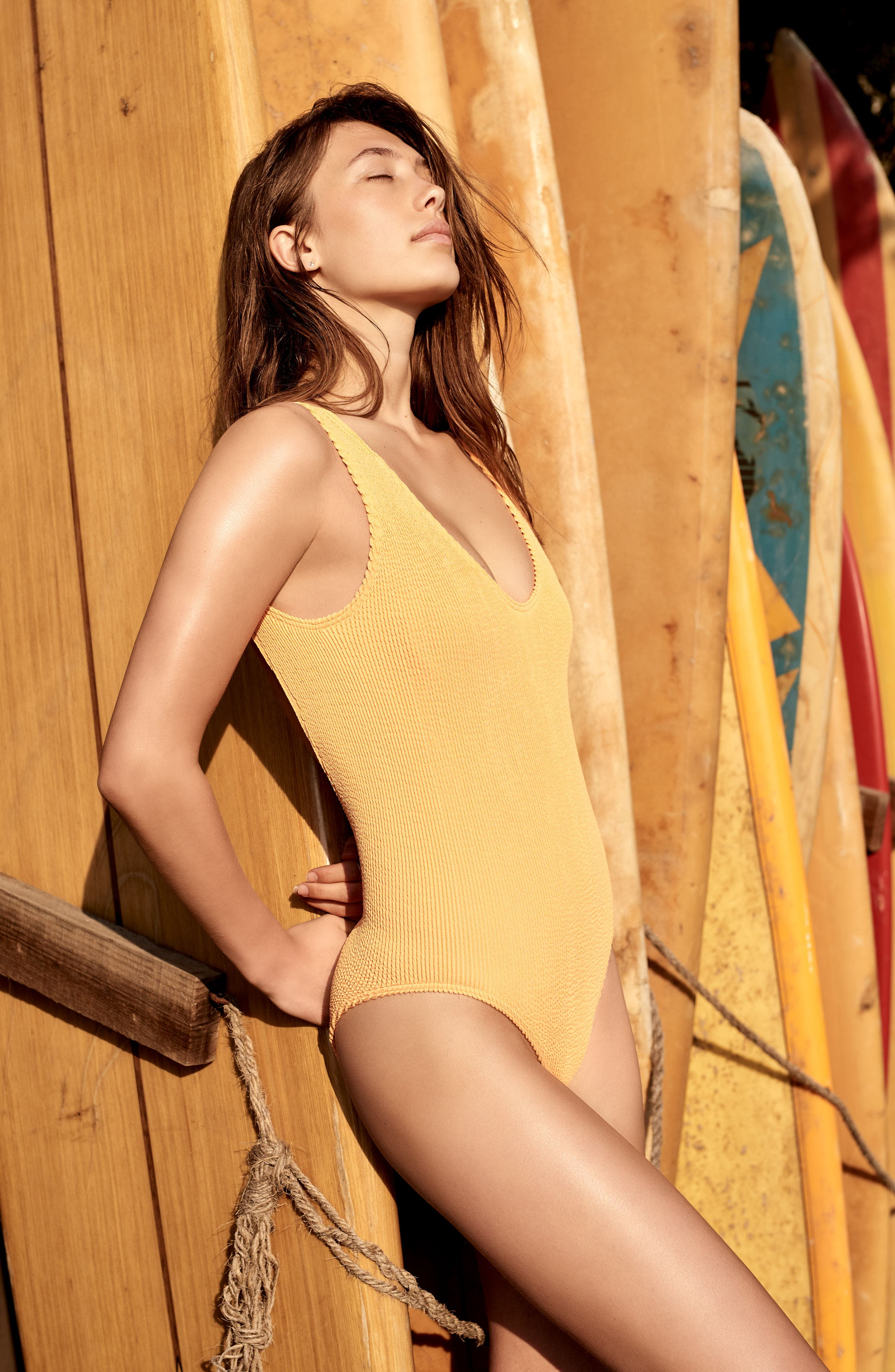 BOUND BY BOND-EYE, The Mara Ribbed One-Piece Swimsuit, Alternate thumbnail 6, color, BLACK
