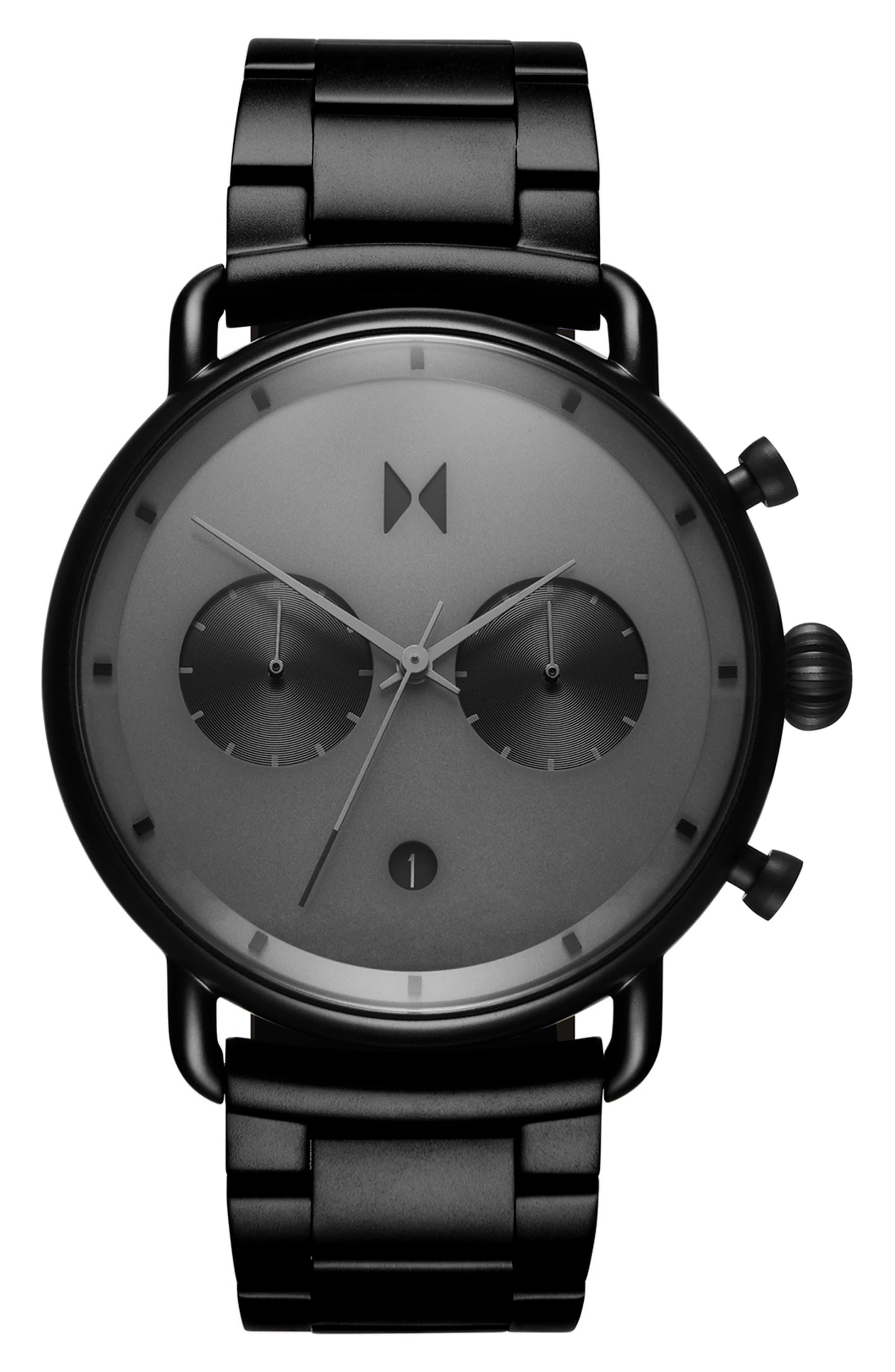 MVMT Blacktop Chronograph Bracelet Watch, 47mm, Main, color, BLACK/ BLACK