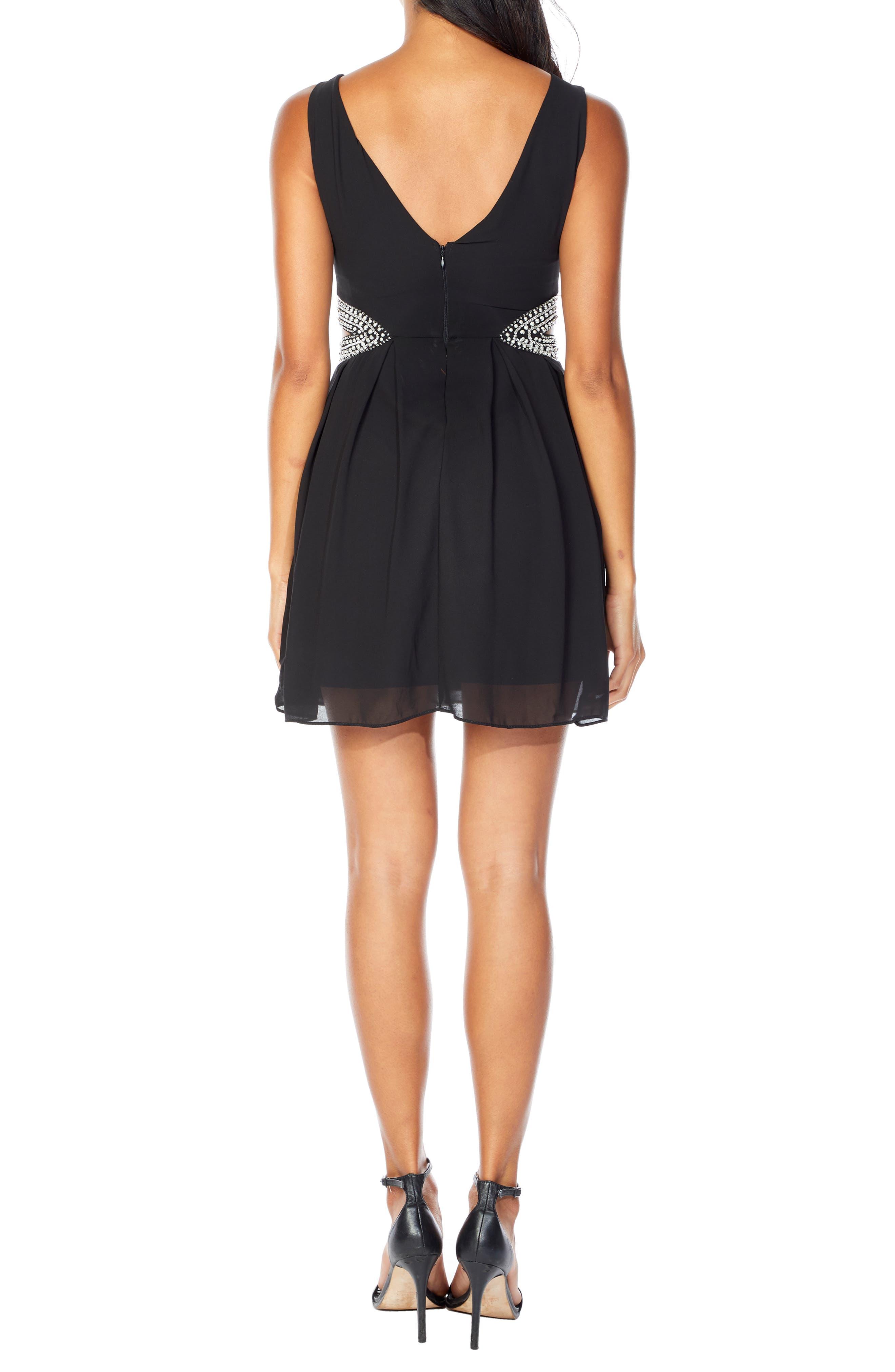 TFNC, Malaga Beaded Minidress, Alternate thumbnail 2, color, BLACK