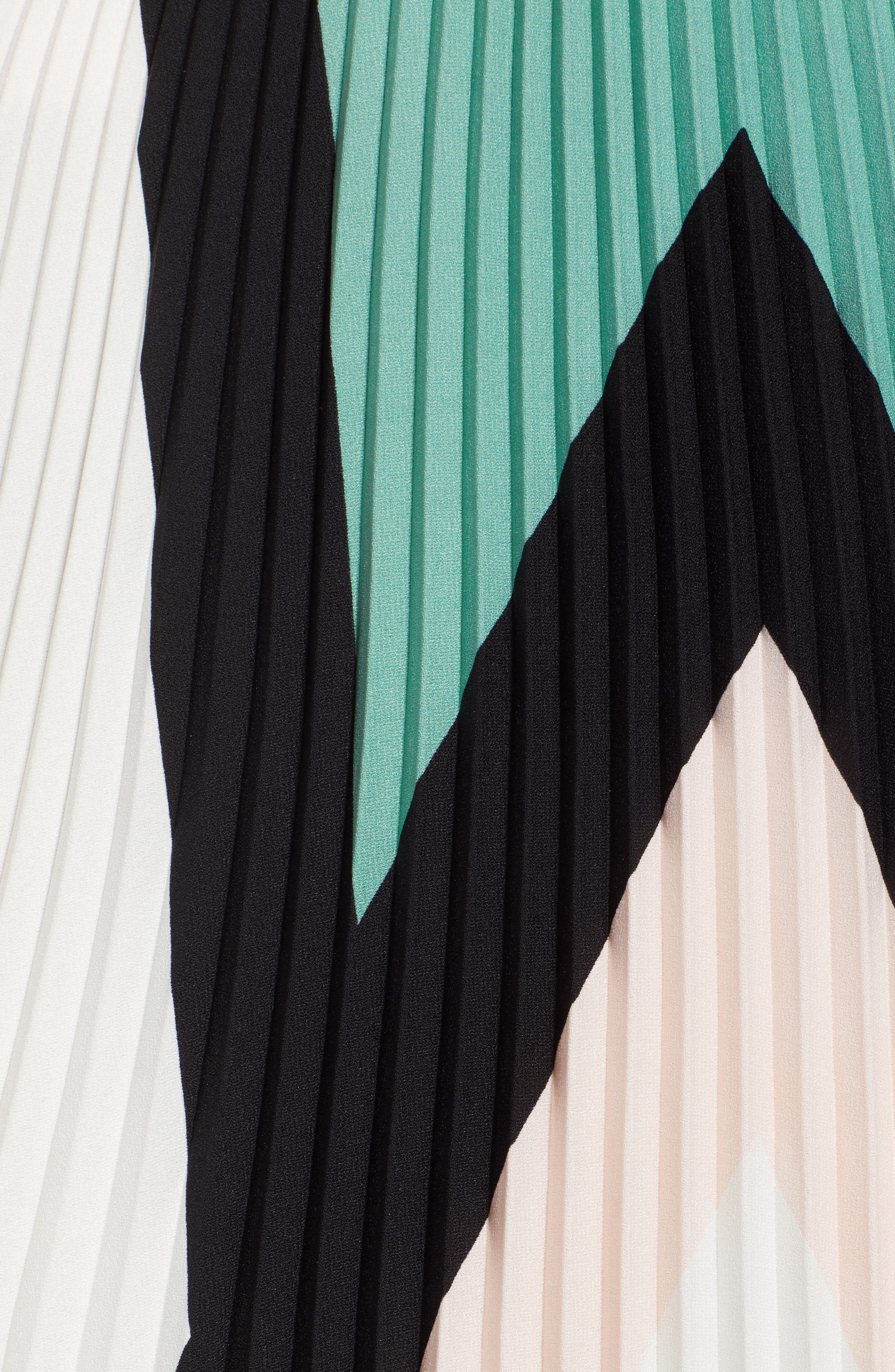 LEITH, Pleated Midi Skirt, Alternate thumbnail 6, color, PINK CHINTZ TRIANGLE STRIPE
