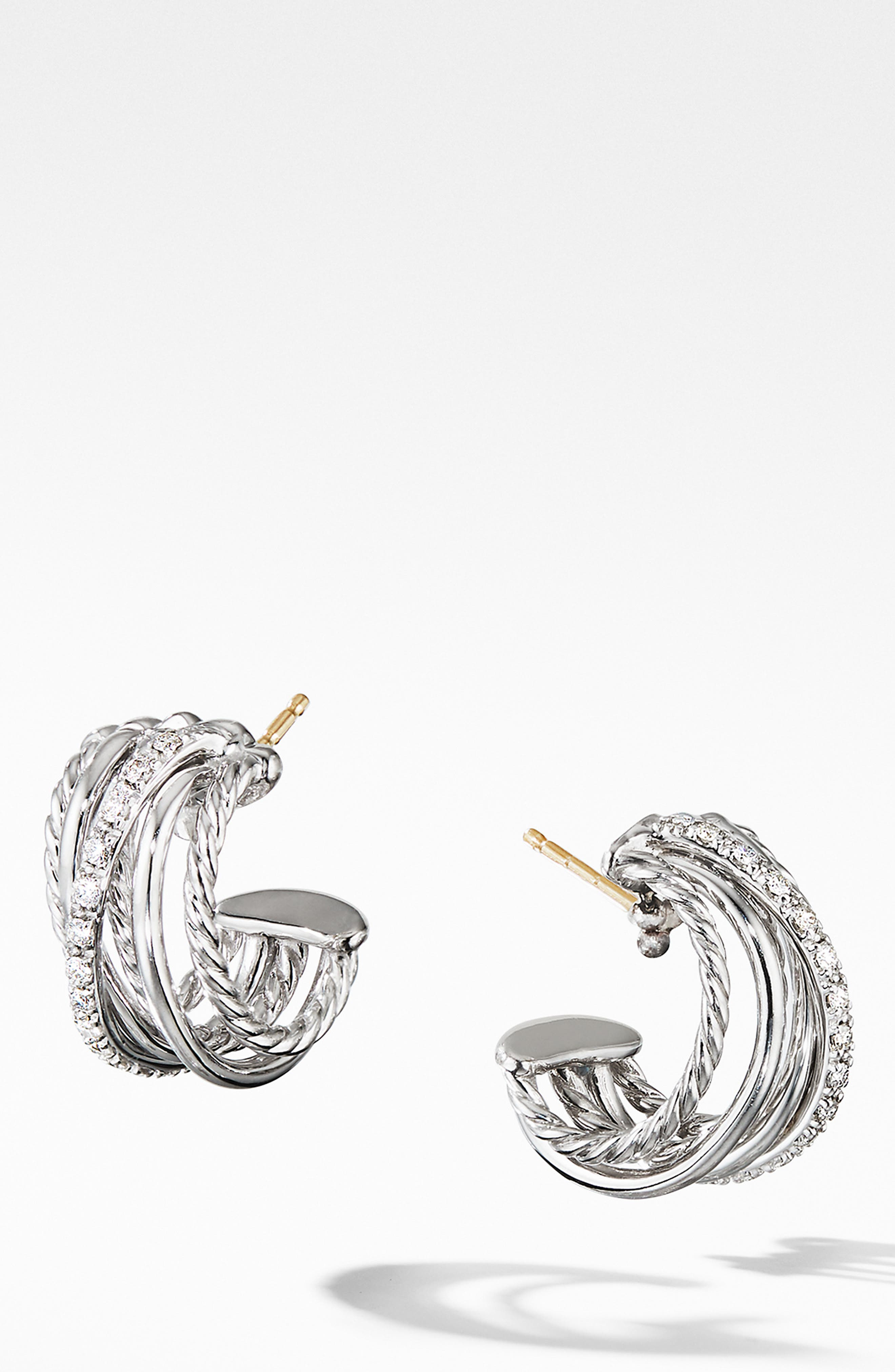 DAVID YURMAN, Crossover Huggie Hoop Earrings with Diamonds, Main thumbnail 1, color, SILVER/ DIAMOND