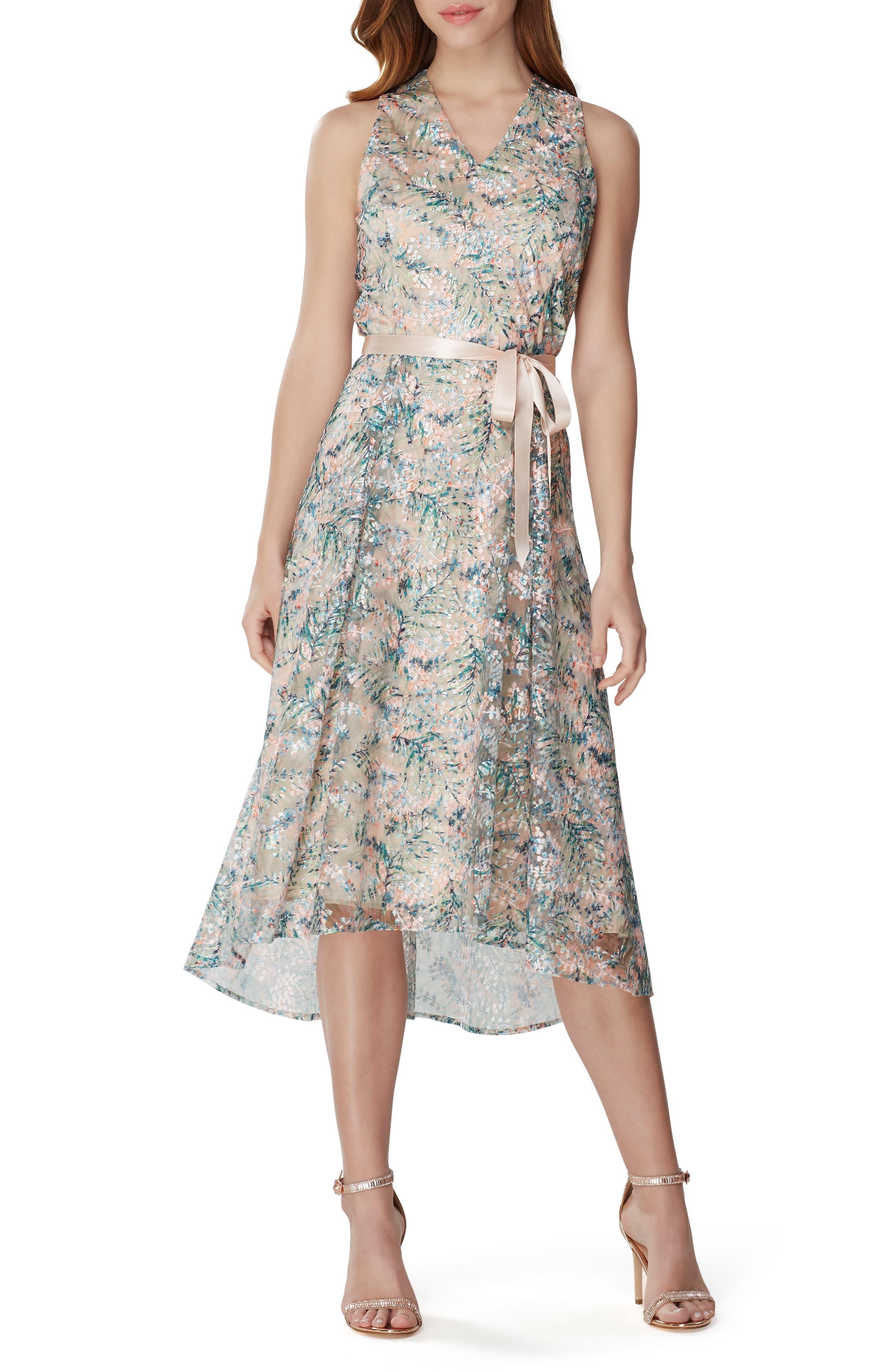 Tahari Embroidered Sleeveless Dress, Blue