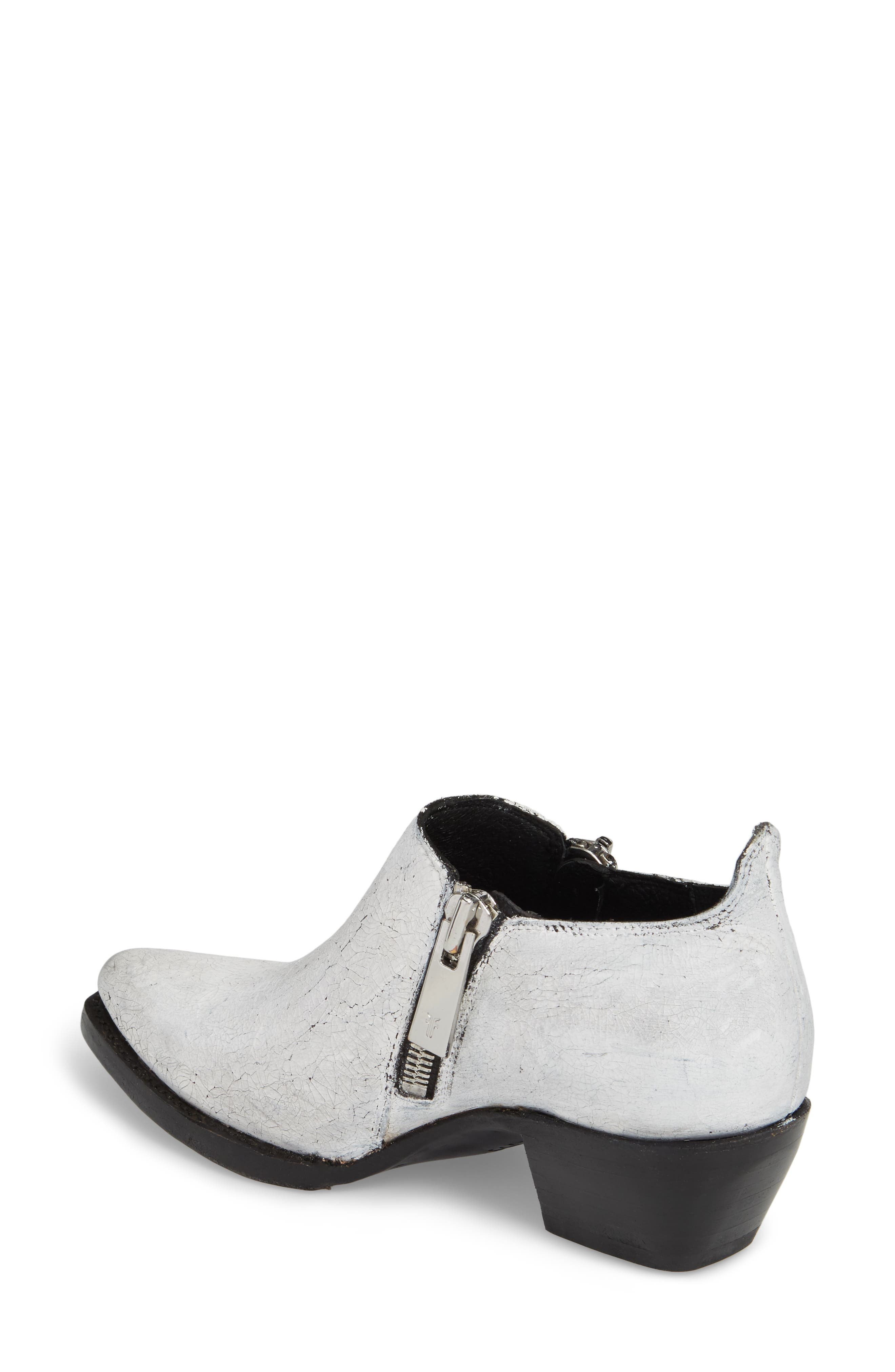 FRYE, Sacha Double Zip Bootie, Alternate thumbnail 2, color, WHITE
