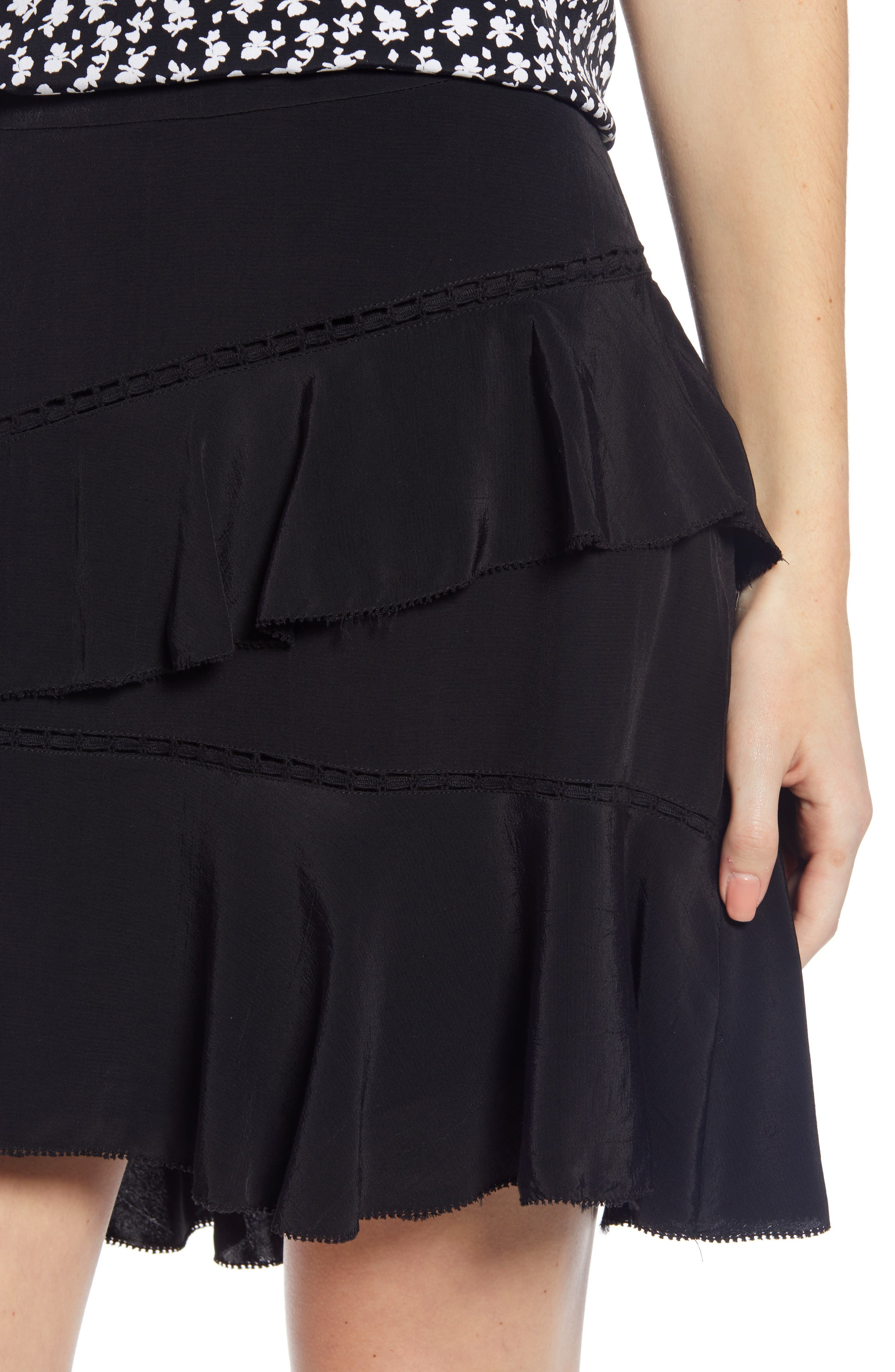 SOMETHING NAVY, Tiered Ruffle High/Low Miniskirt, Alternate thumbnail 6, color, BLACK