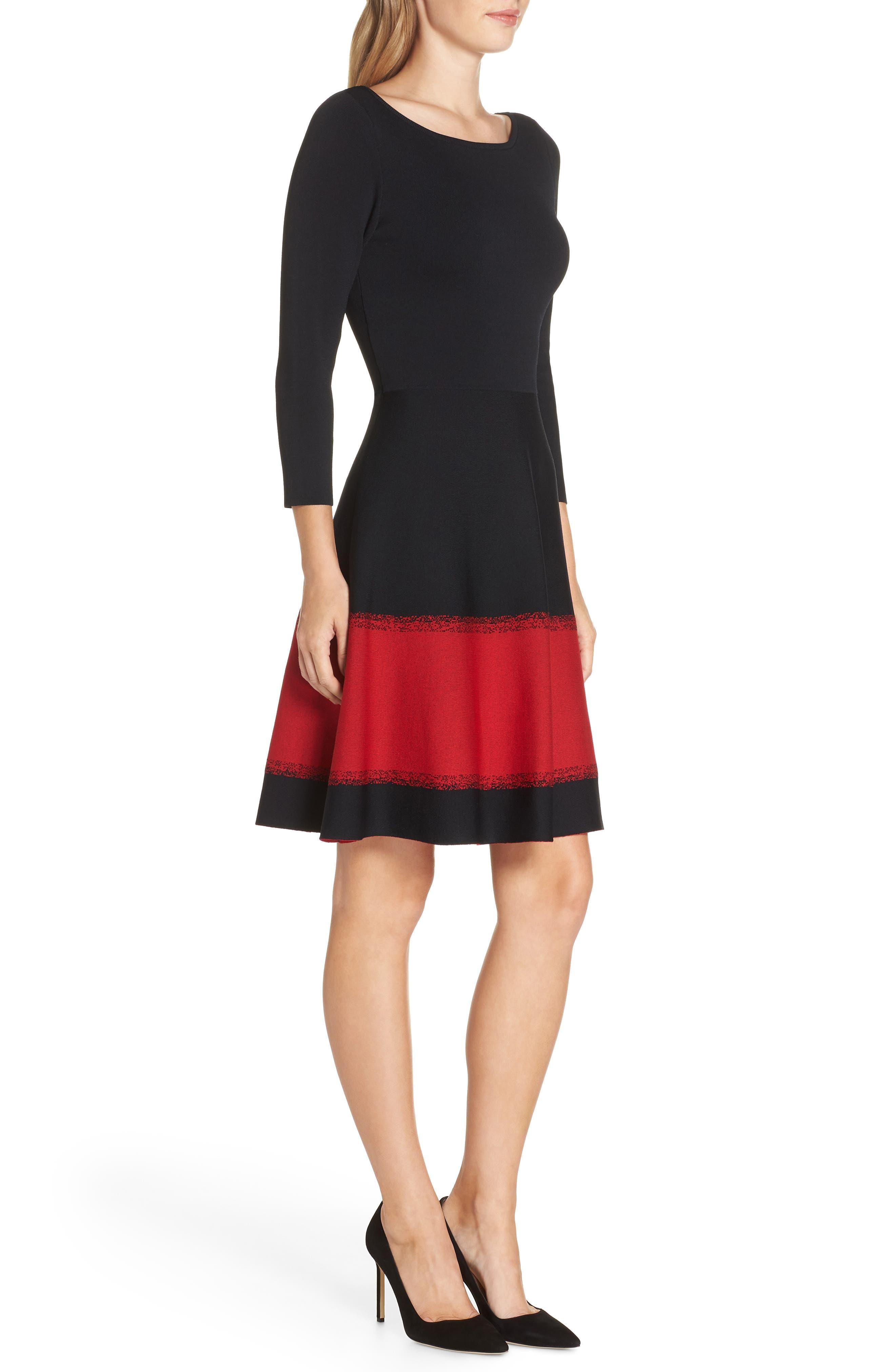 ELIZA J, Contrast Stripe Fit & Flare Dress, Alternate thumbnail 4, color, 001