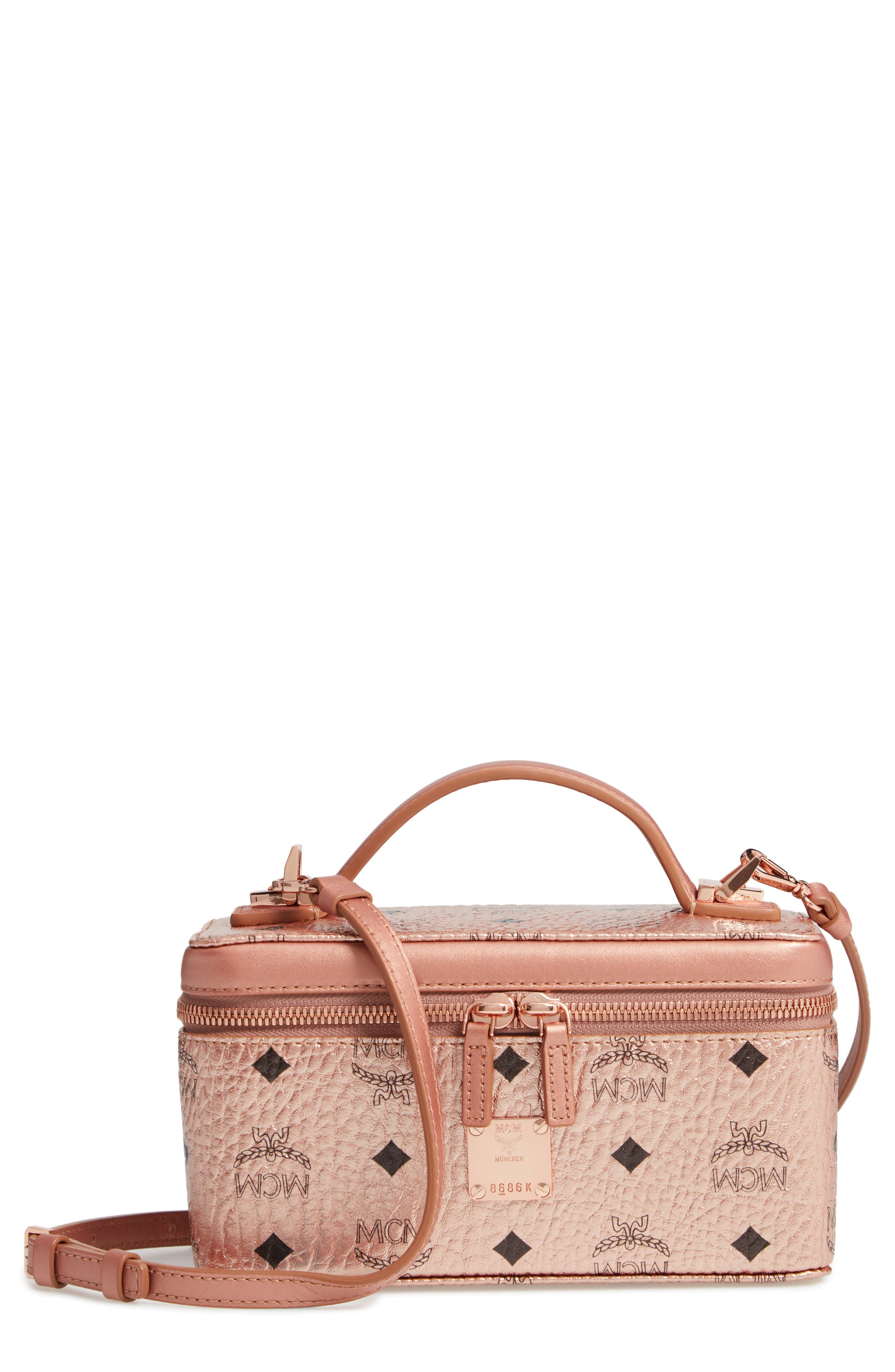 MCM Visetos Coated Canvas Vanity Case, Main, color, CHAMPAGNE GOLD