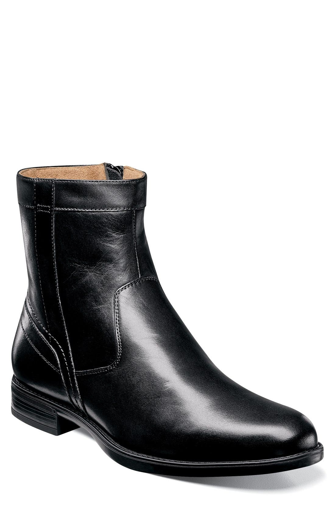 FLORSHEIM, 'Midtown' Zip Boot, Main thumbnail 1, color, BLACK LEATHER