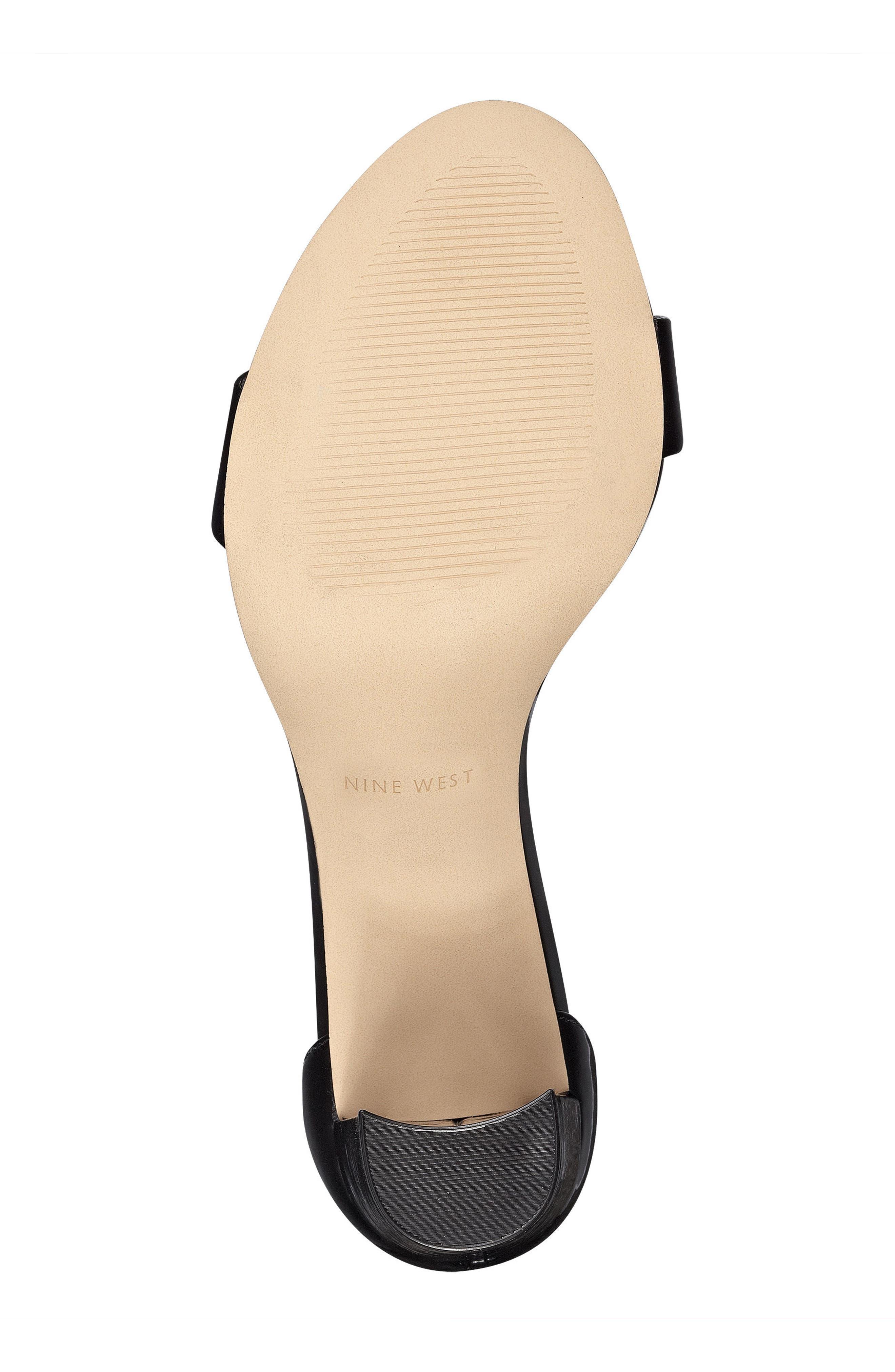 NINE WEST, Pruce Ankle Strap Sandal, Alternate thumbnail 6, color, BLACK PATENT