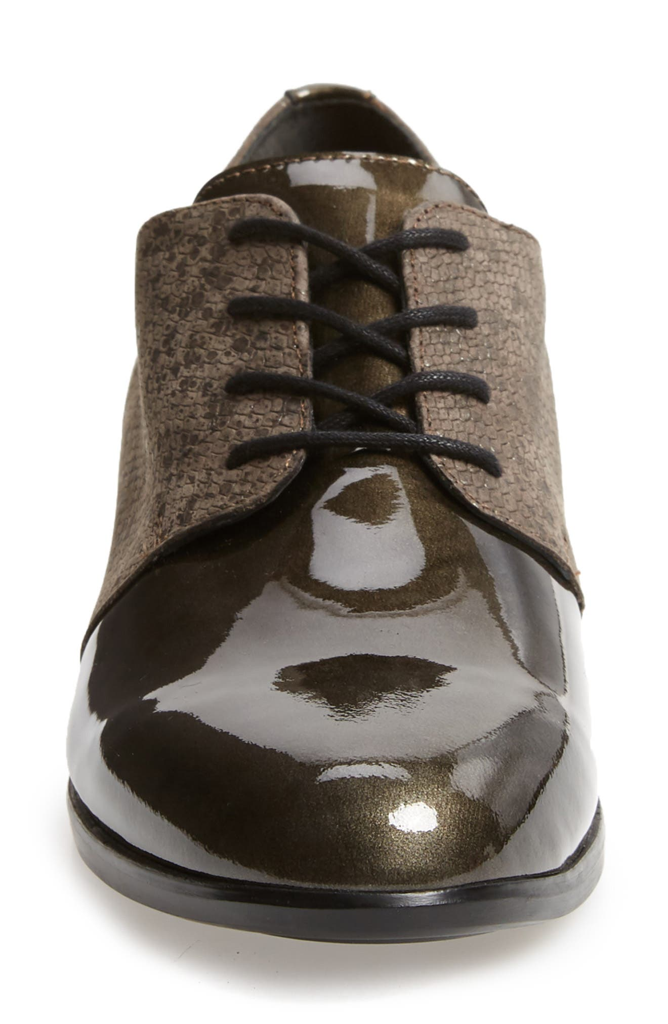 MUNRO, Markella Derby, Alternate thumbnail 4, color, GREY PATENT LEATHER