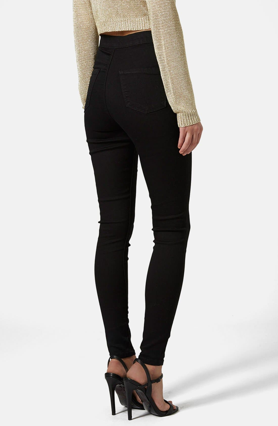 TOPSHOP, Joni High Waist Ankle Skinny Jeans, Alternate thumbnail 5, color, 001